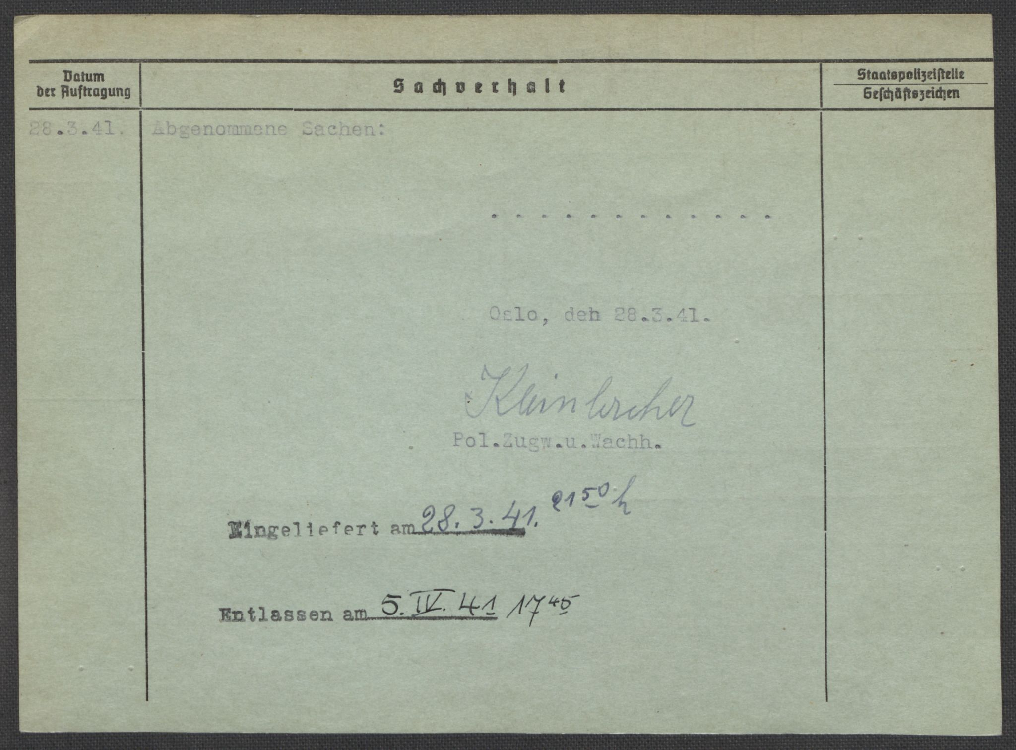 RA, Befehlshaber der Sicherheitspolizei und des SD, E/Ea/Eaa/L0005: Register over norske fanger i Møllergata 19: Hø-Kj, 1940-1945, s. 588