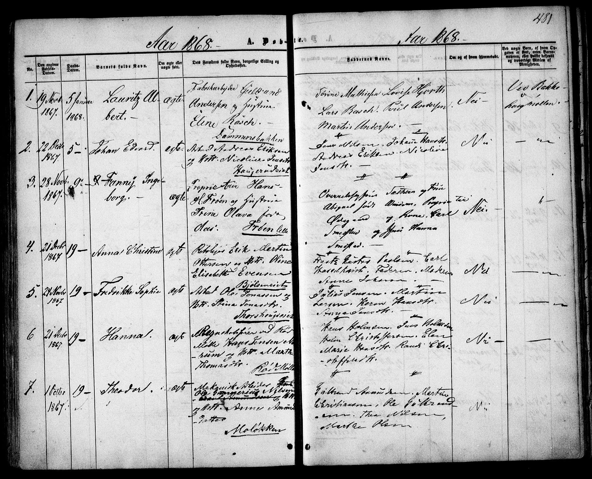 SAO, Vestre Aker prestekontor Kirkebøker, F/Fa/L0003: Ministerialbok nr. 3, 1857-1868, s. 481