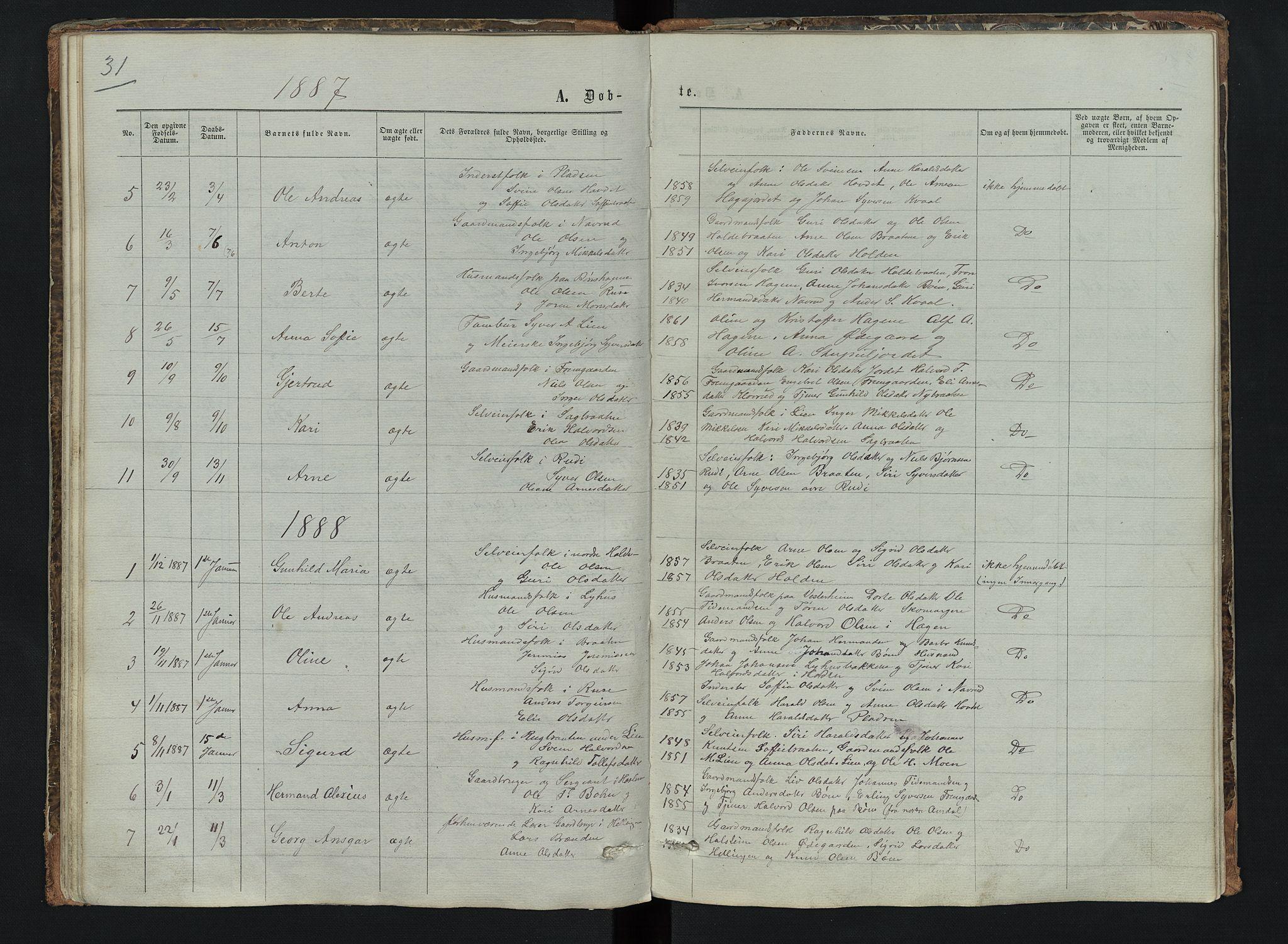 SAH, Sør-Aurdal prestekontor, Klokkerbok nr. 6, 1866-1893, s. 31