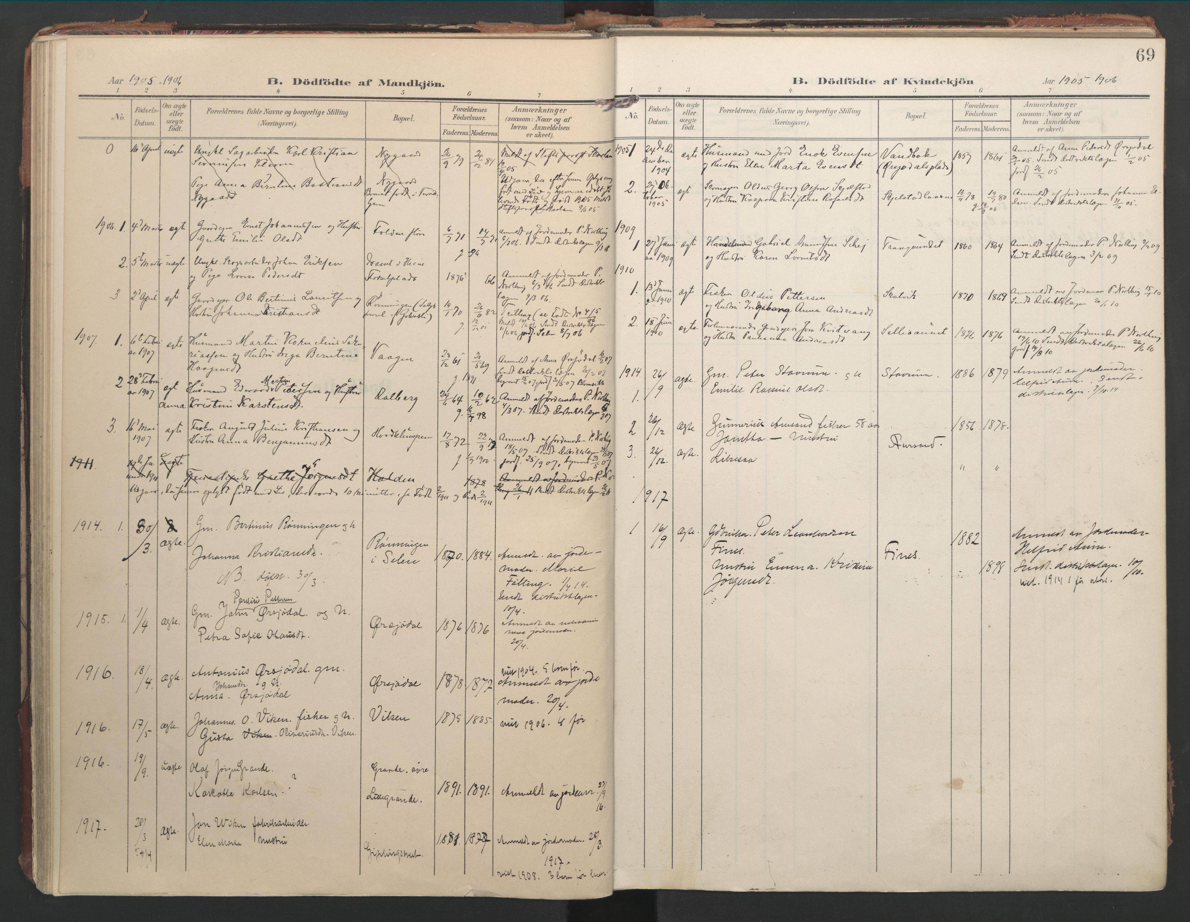SAT, Ministerialprotokoller, klokkerbøker og fødselsregistre - Nord-Trøndelag, 744/L0421: Ministerialbok nr. 744A05, 1905-1930, s. 69
