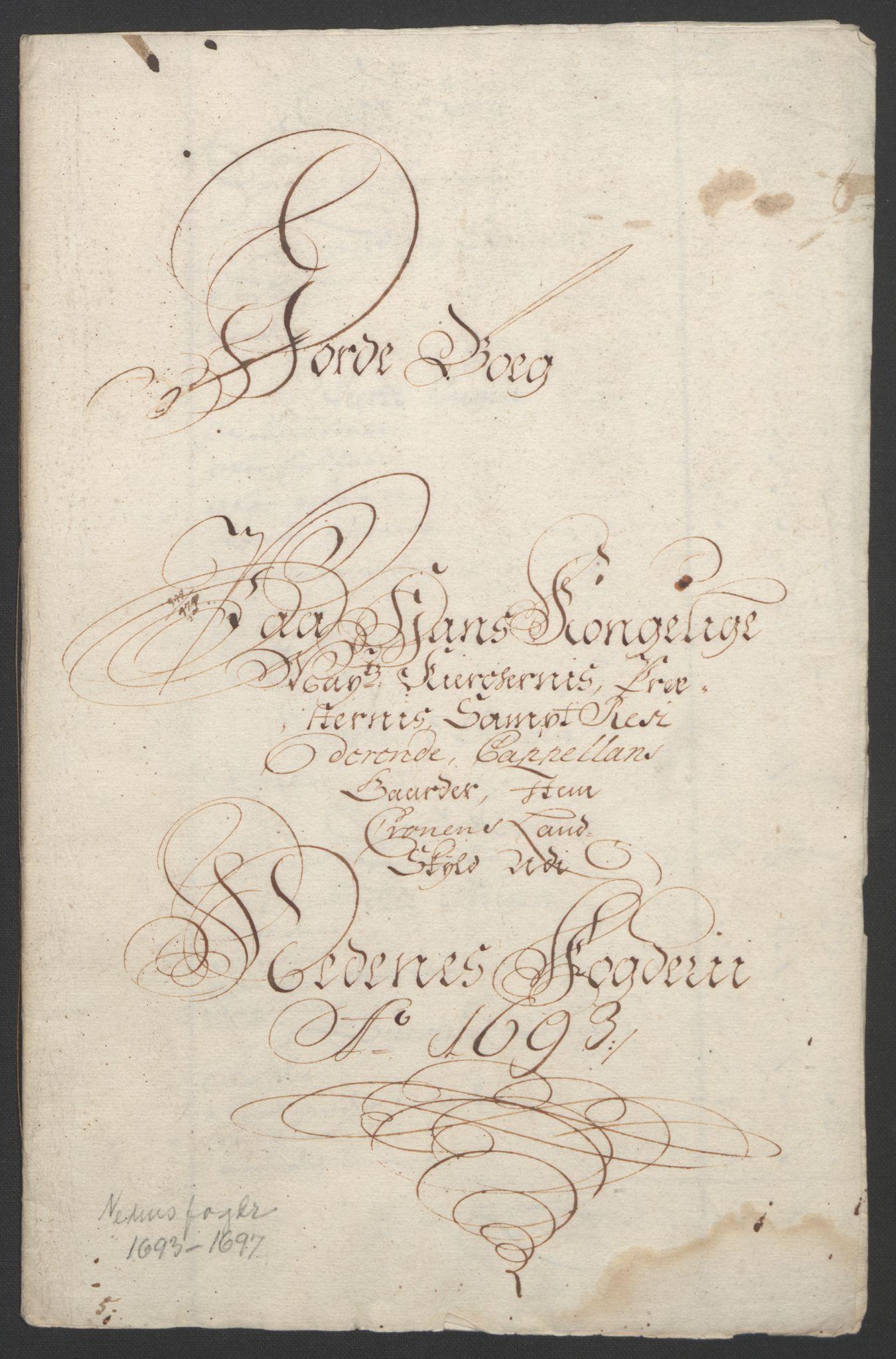 RA, Rentekammeret inntil 1814, Reviderte regnskaper, Fogderegnskap, R39/L2312: Fogderegnskap Nedenes, 1693-1695, s. 12