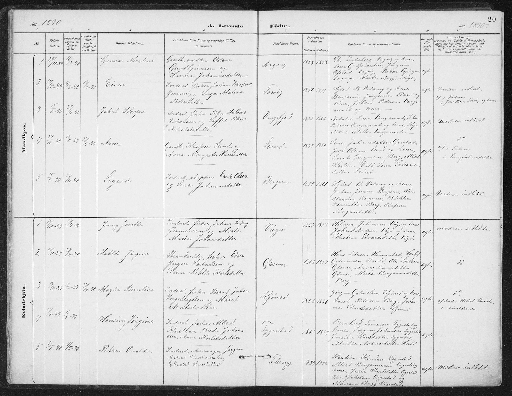 SAT, Ministerialprotokoller, klokkerbøker og fødselsregistre - Nord-Trøndelag, 786/L0687: Ministerialbok nr. 786A03, 1888-1898, s. 20