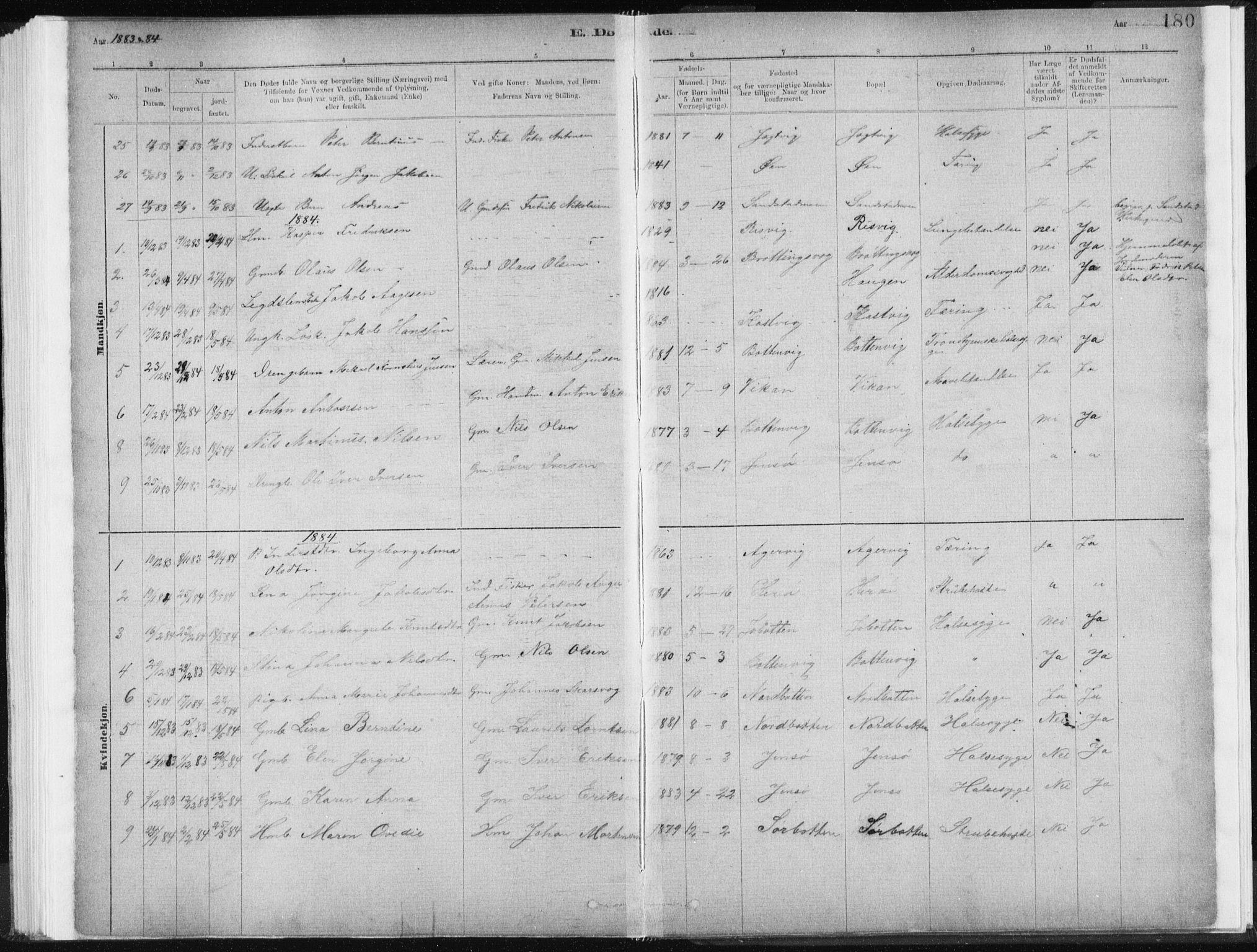 SAT, Ministerialprotokoller, klokkerbøker og fødselsregistre - Sør-Trøndelag, 637/L0558: Ministerialbok nr. 637A01, 1882-1899, s. 180