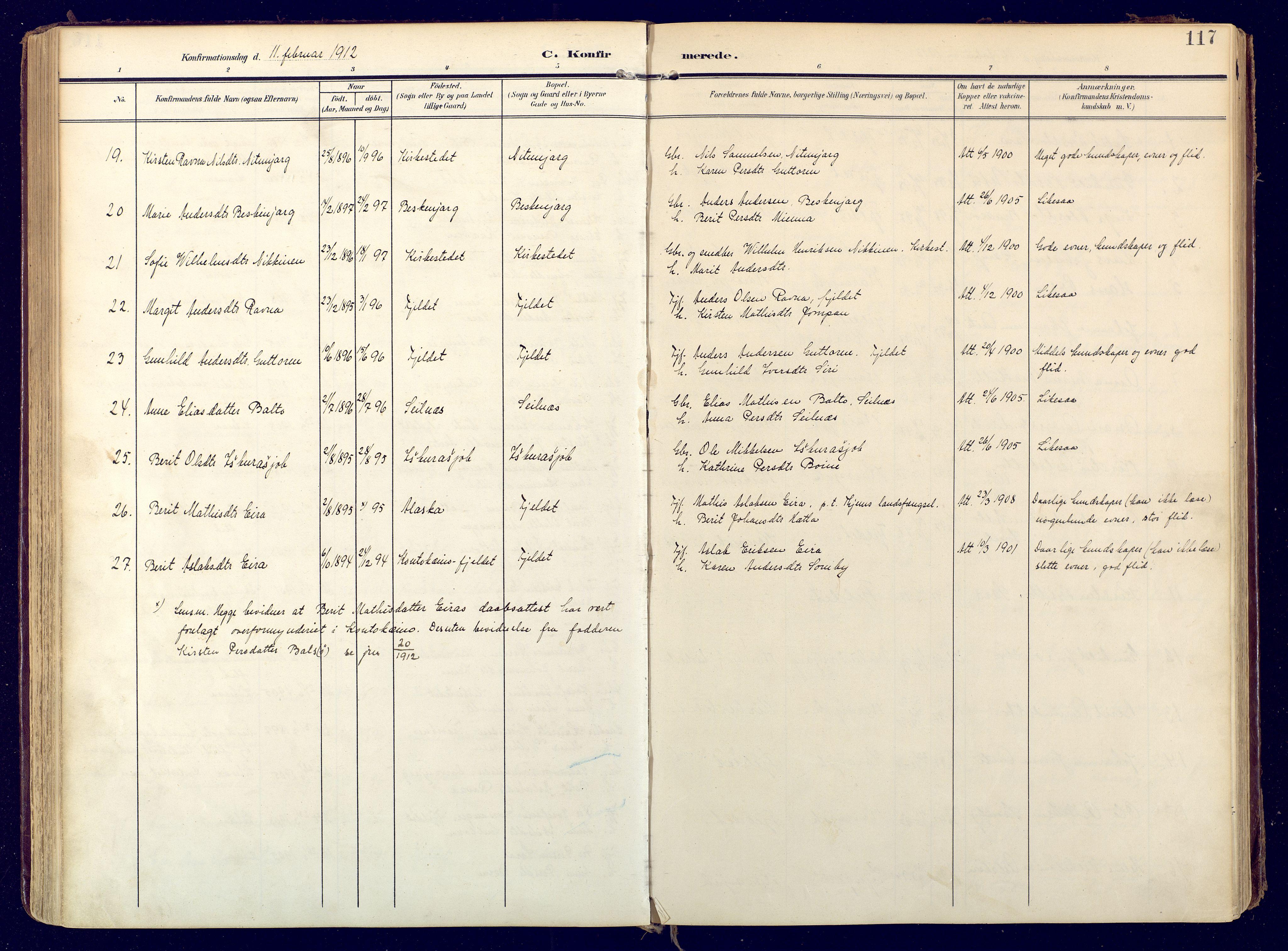 SATØ, Karasjok sokneprestkontor, H/Ha: Ministerialbok nr. 3, 1907-1926, s. 117