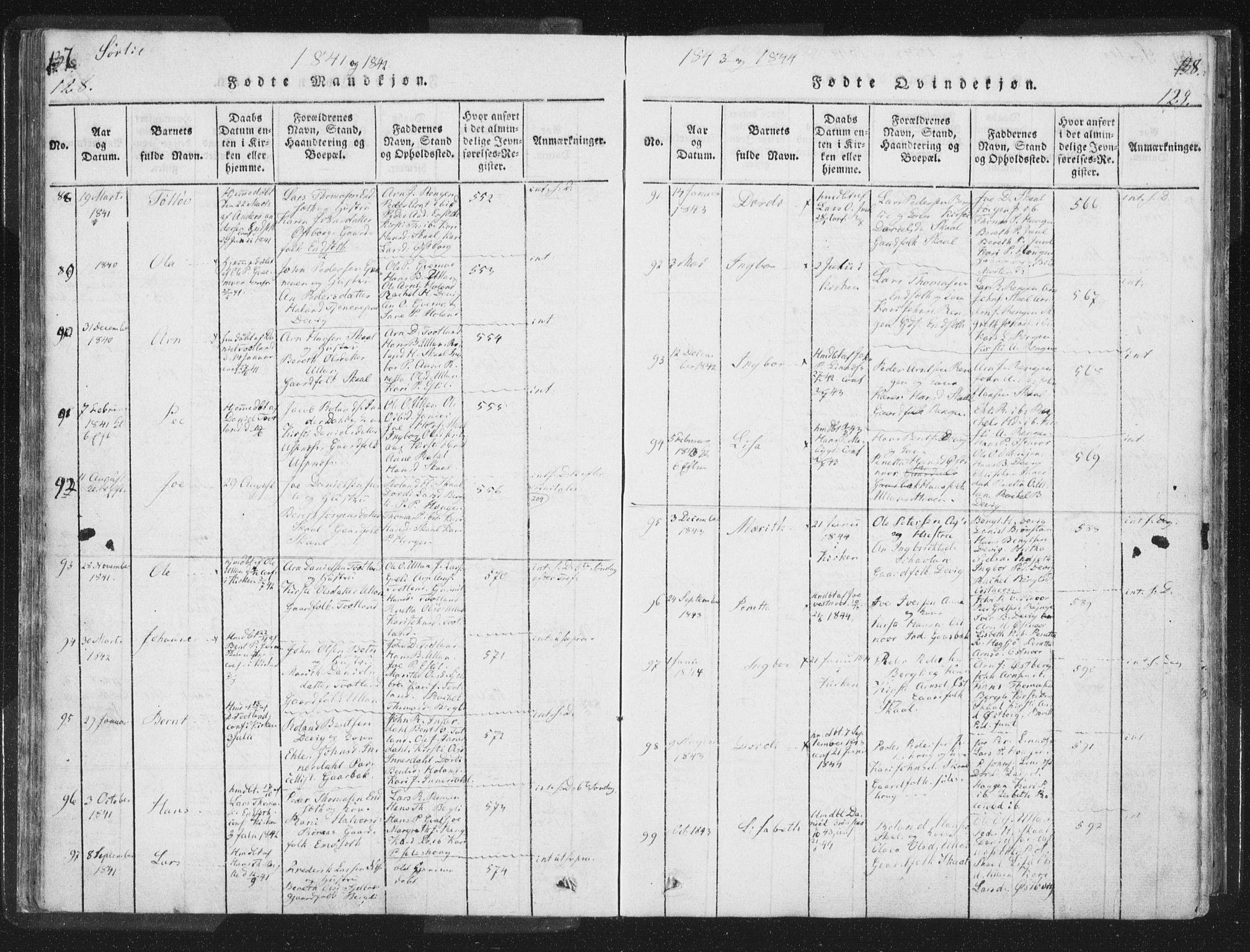 SAT, Ministerialprotokoller, klokkerbøker og fødselsregistre - Nord-Trøndelag, 755/L0491: Ministerialbok nr. 755A01 /2, 1817-1864, s. 128-129