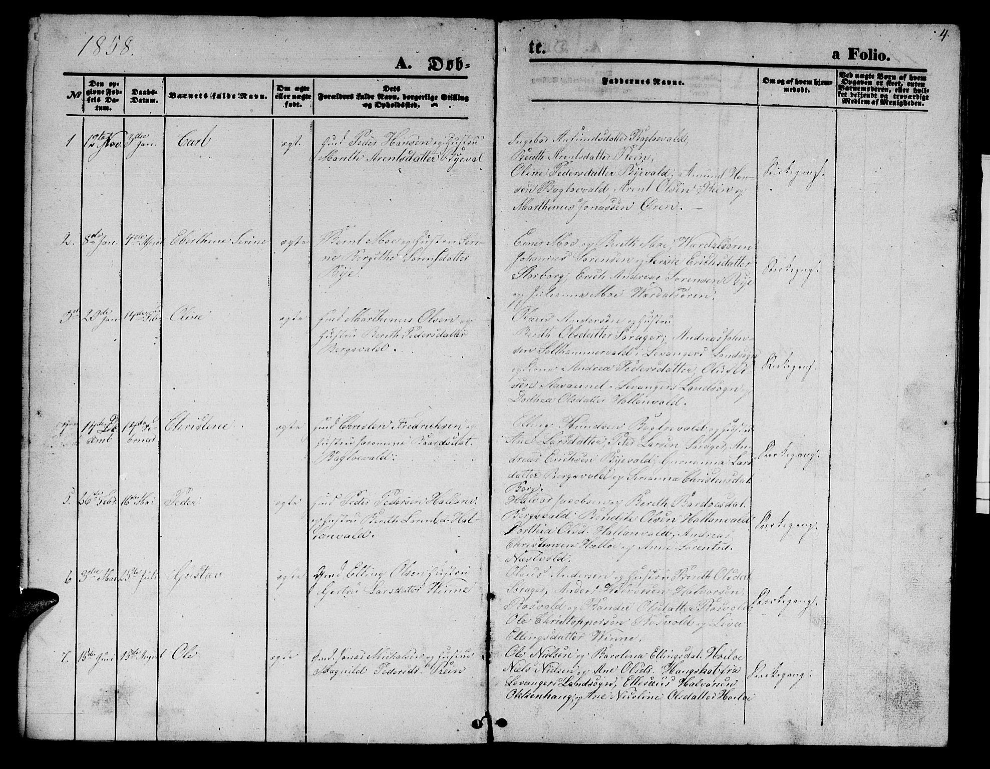 SAT, Ministerialprotokoller, klokkerbøker og fødselsregistre - Nord-Trøndelag, 726/L0270: Klokkerbok nr. 726C01, 1858-1868, s. 4