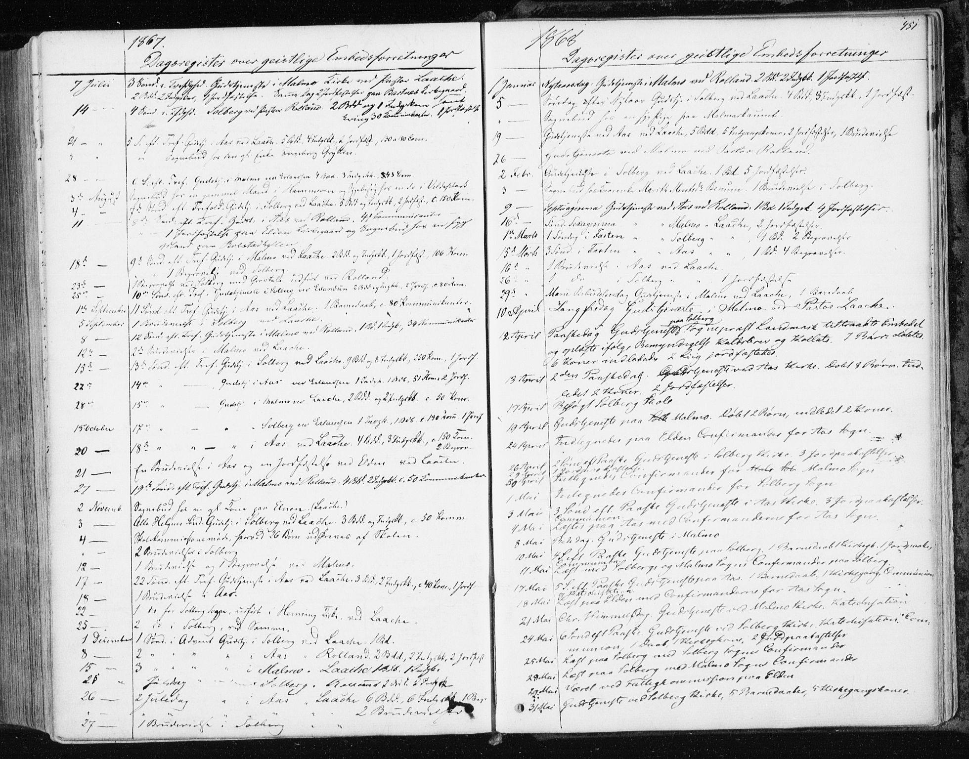 SAT, Ministerialprotokoller, klokkerbøker og fødselsregistre - Nord-Trøndelag, 741/L0394: Ministerialbok nr. 741A08, 1864-1877, s. 451