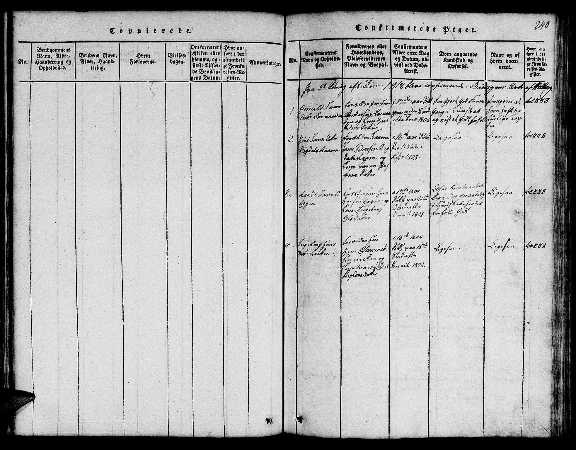 SAT, Ministerialprotokoller, klokkerbøker og fødselsregistre - Sør-Trøndelag, 666/L0788: Klokkerbok nr. 666C01, 1816-1847, s. 240