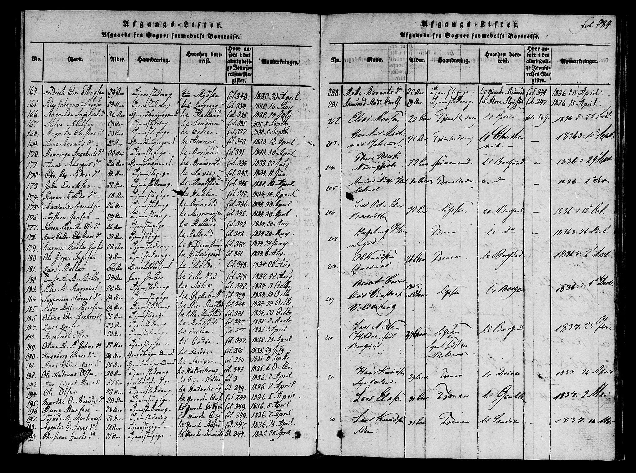 SAT, Ministerialprotokoller, klokkerbøker og fødselsregistre - Møre og Romsdal, 536/L0495: Ministerialbok nr. 536A04, 1818-1847, s. 284