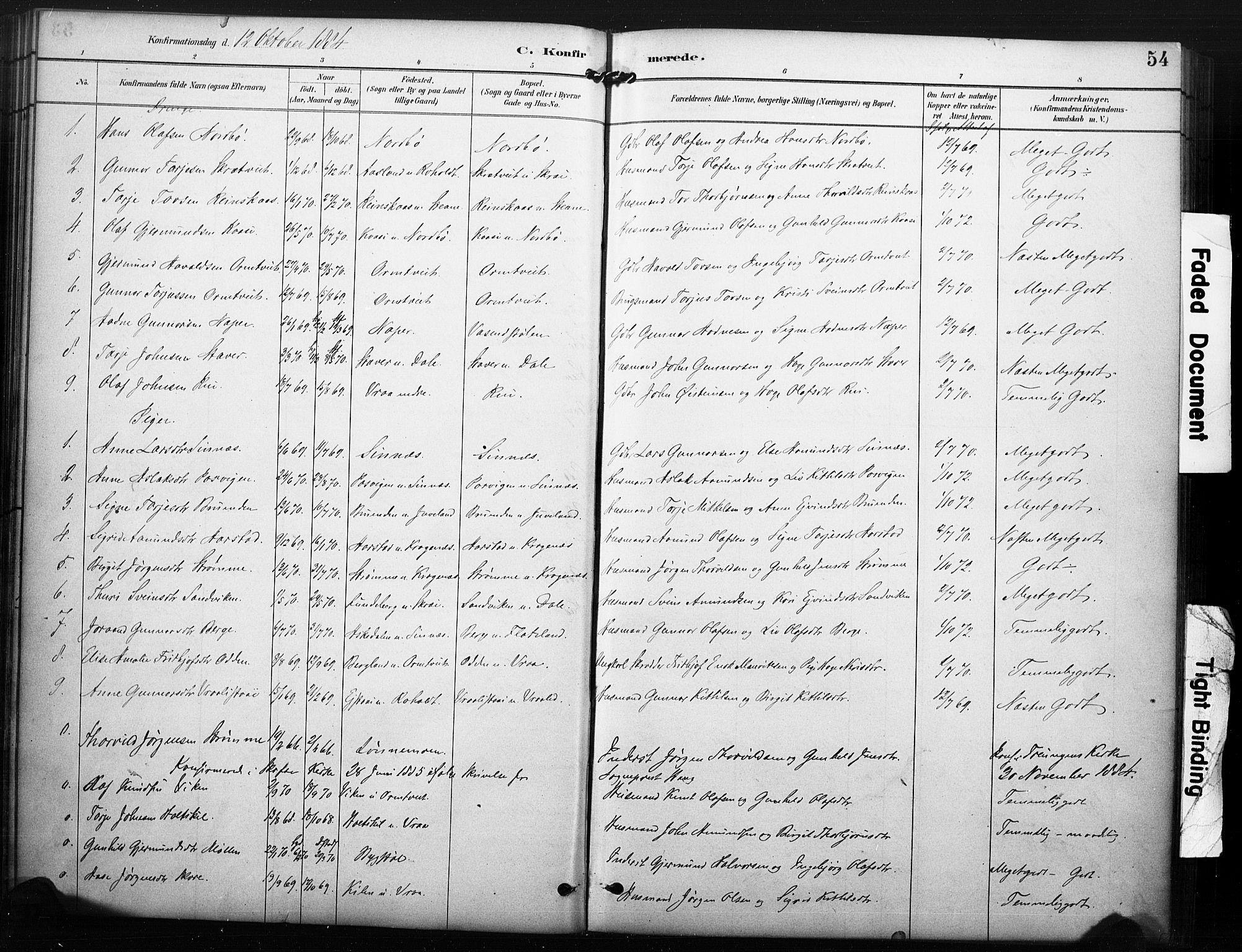 SAKO, Kviteseid kirkebøker, F/Fc/L0002: Ministerialbok nr. III 2, 1882-1908, s. 54
