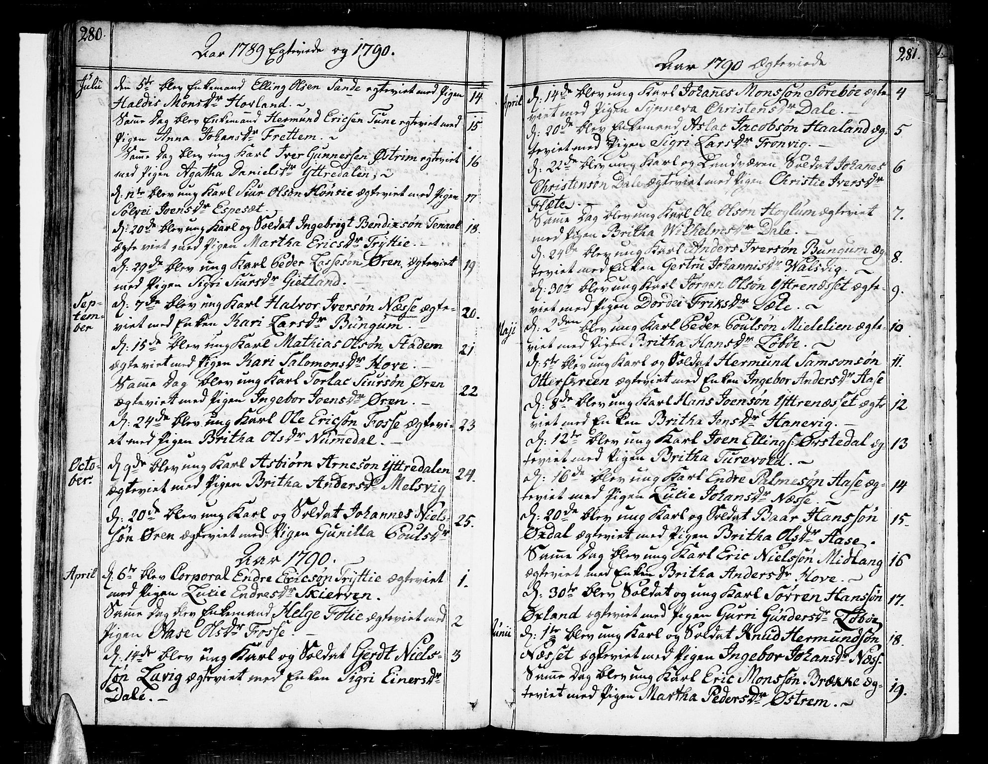 SAB, Vik Sokneprestembete, Ministerialbok nr. A 5, 1787-1820, s. 280-281