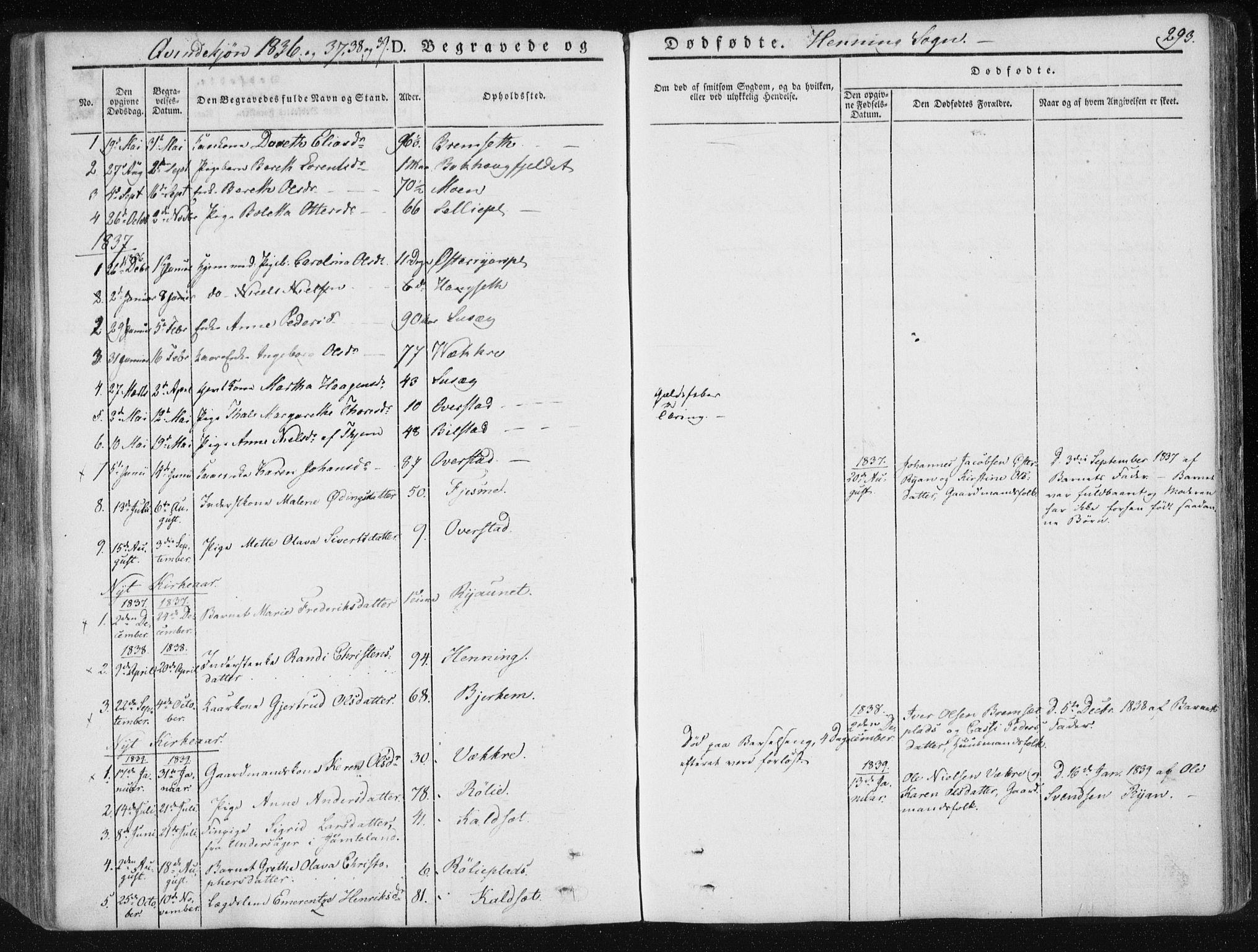 SAT, Ministerialprotokoller, klokkerbøker og fødselsregistre - Nord-Trøndelag, 735/L0339: Ministerialbok nr. 735A06 /3, 1836-1848, s. 293