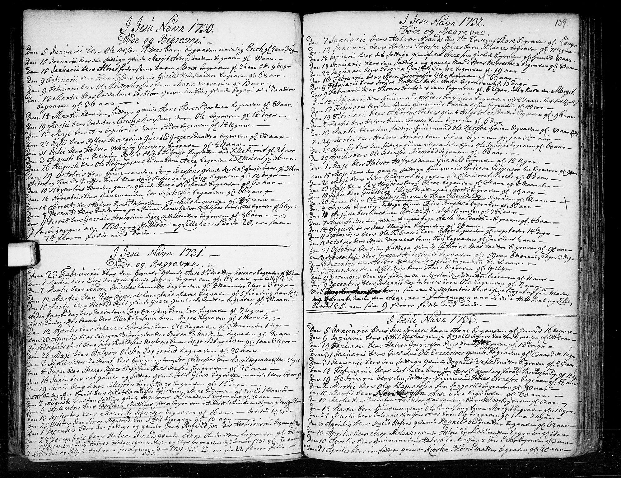SAKO, Heddal kirkebøker, F/Fa/L0003: Ministerialbok nr. I 3, 1723-1783, s. 139