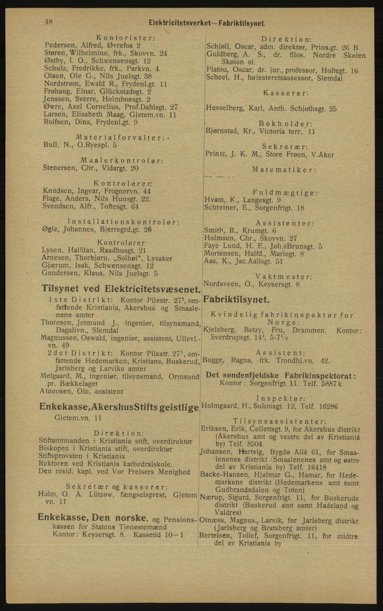 RA, Kristiania adressebok (publikasjon)*, 1913, s. 48