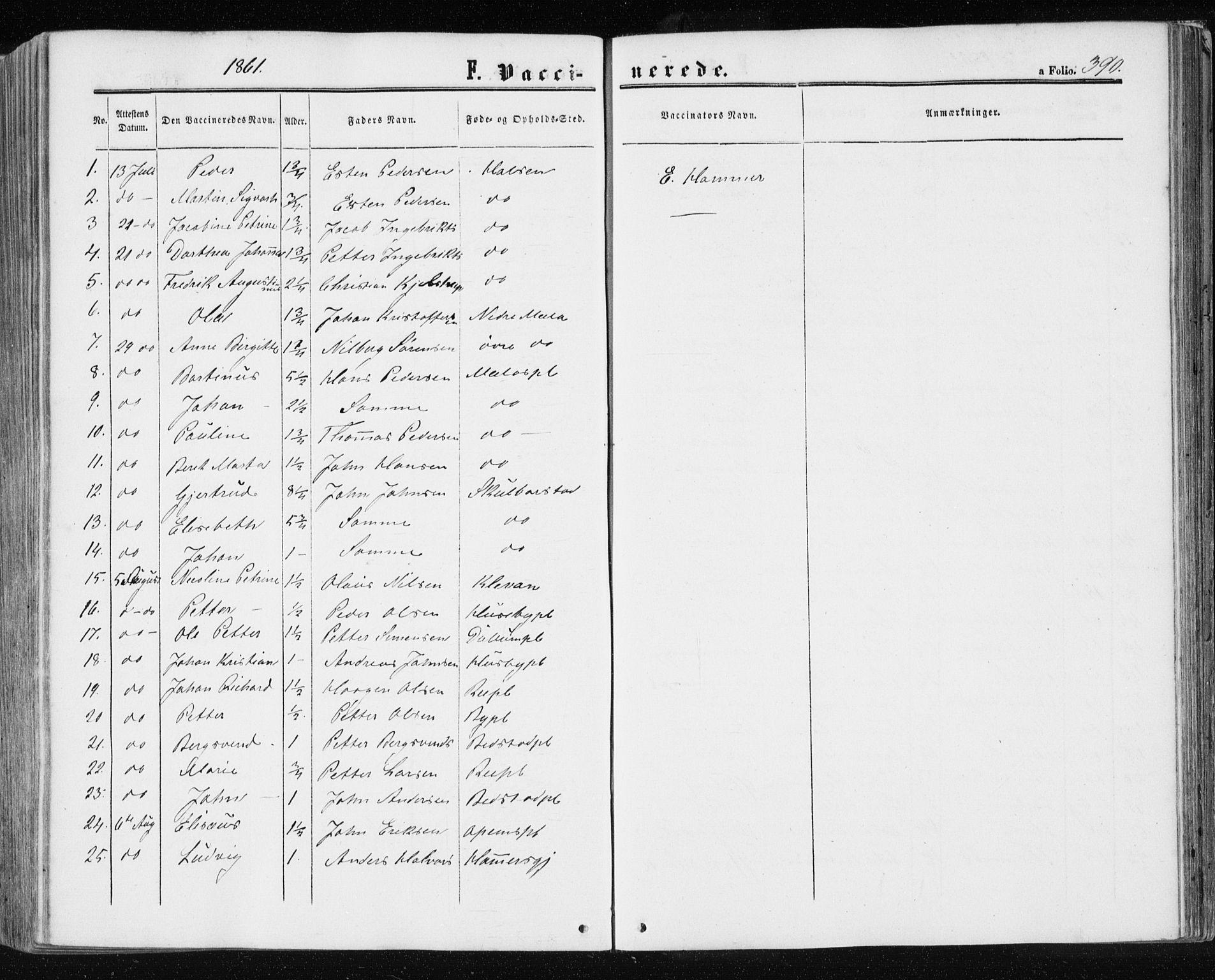SAT, Ministerialprotokoller, klokkerbøker og fødselsregistre - Nord-Trøndelag, 709/L0075: Ministerialbok nr. 709A15, 1859-1870, s. 390