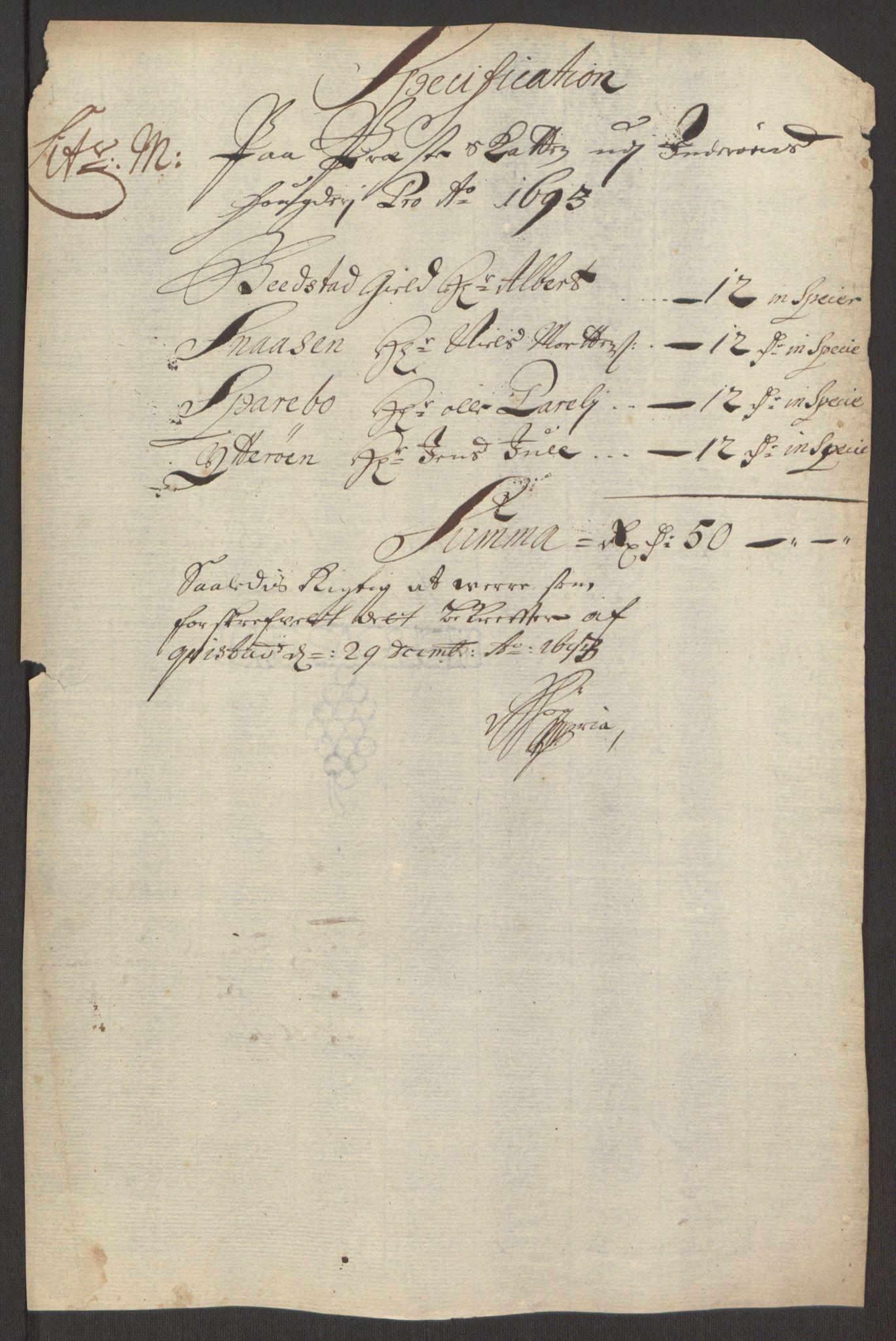 RA, Rentekammeret inntil 1814, Reviderte regnskaper, Fogderegnskap, R63/L4308: Fogderegnskap Inderøy, 1692-1694, s. 509