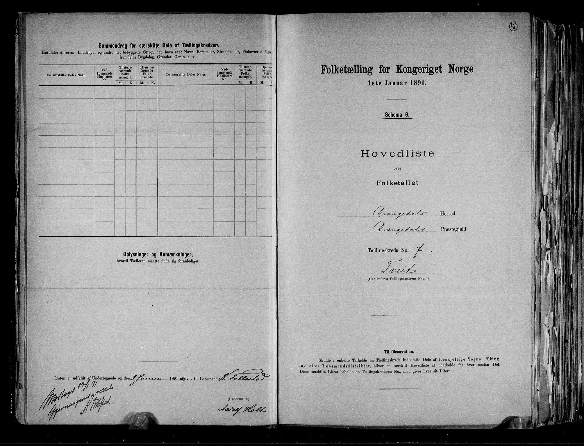 RA, Folketelling 1891 for 0817 Drangedal herred, 1891, s. 16