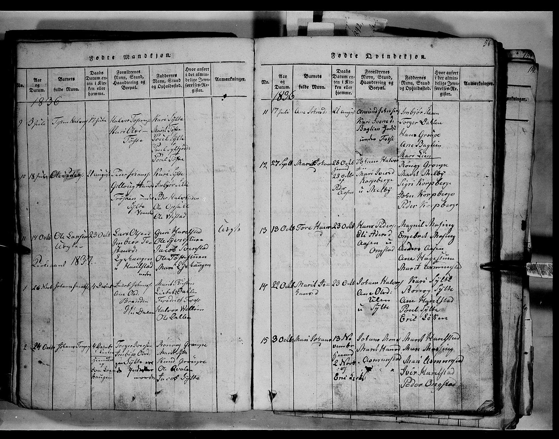 SAH, Fron prestekontor, H/Ha/Hab/L0003: Klokkerbok nr. 3, 1816-1850, s. 56