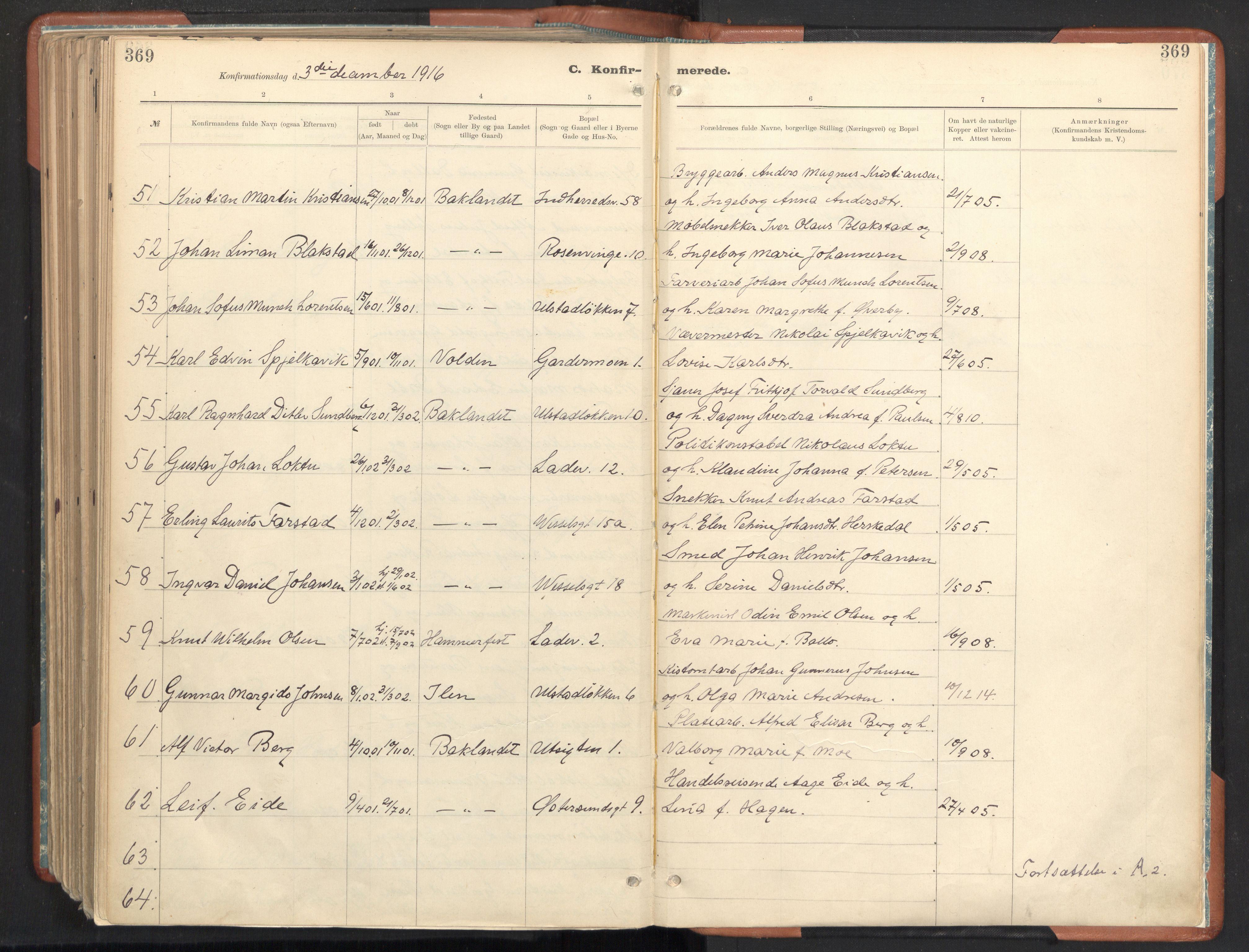 SAT, Ministerialprotokoller, klokkerbøker og fødselsregistre - Sør-Trøndelag, 605/L0243: Ministerialbok nr. 605A05, 1908-1923, s. 369