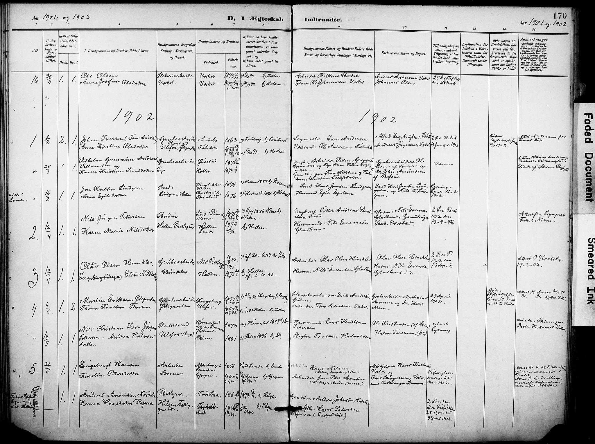 SAKO, Holla kirkebøker, F/Fa/L0010: Ministerialbok nr. 10, 1897-1907, s. 170