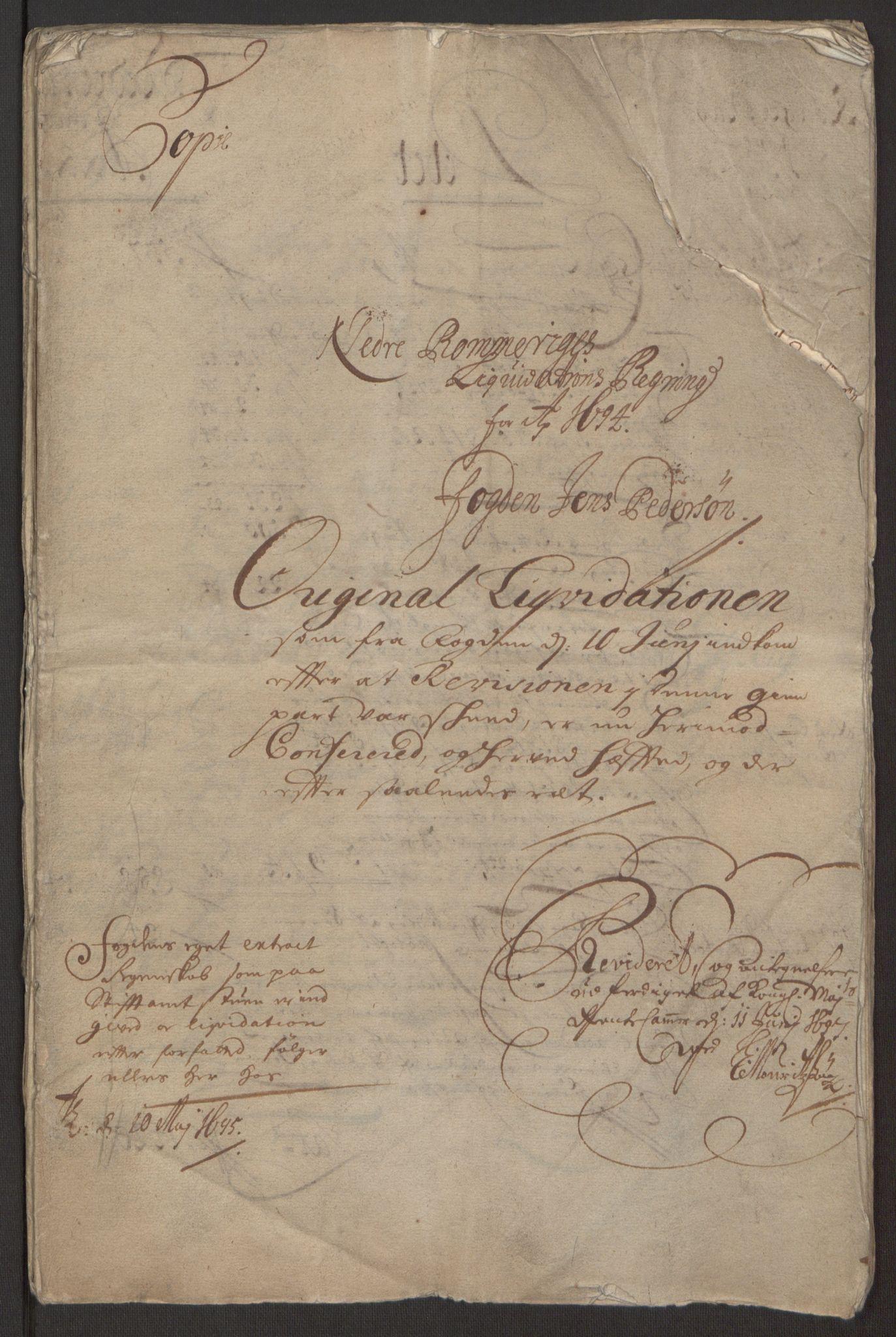 RA, Rentekammeret inntil 1814, Reviderte regnskaper, Fogderegnskap, R11/L0579: Fogderegnskap Nedre Romerike, 1694-1695, s. 4