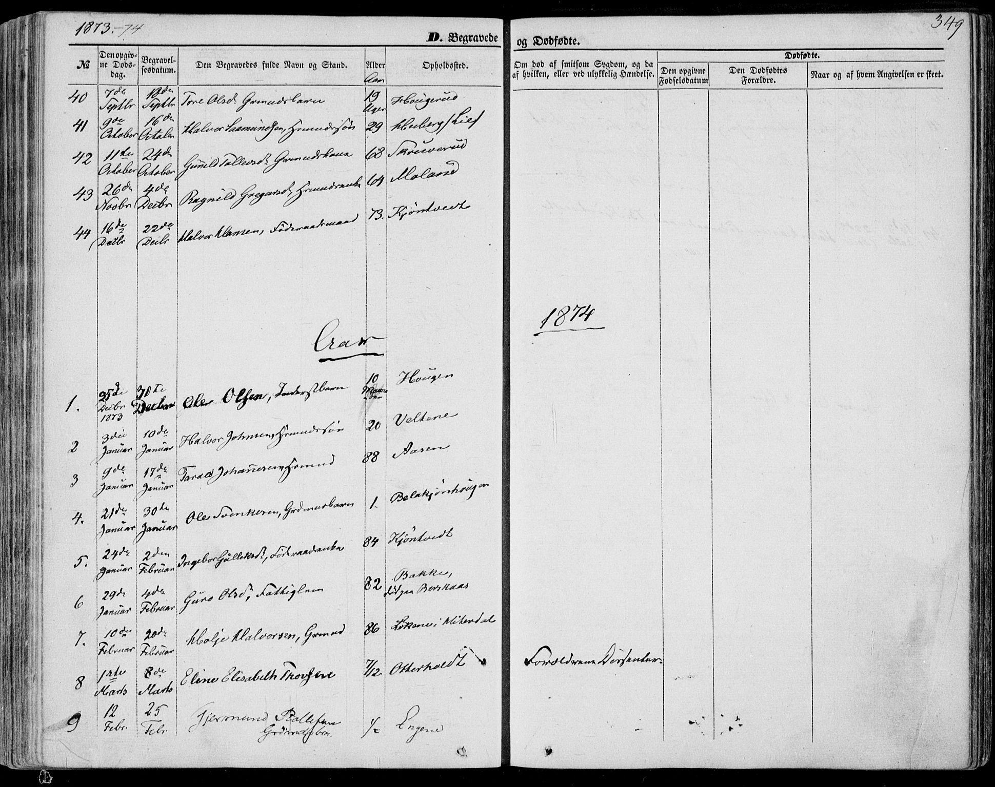 SAKO, Bø kirkebøker, F/Fa/L0009: Ministerialbok nr. 9, 1862-1879, s. 349