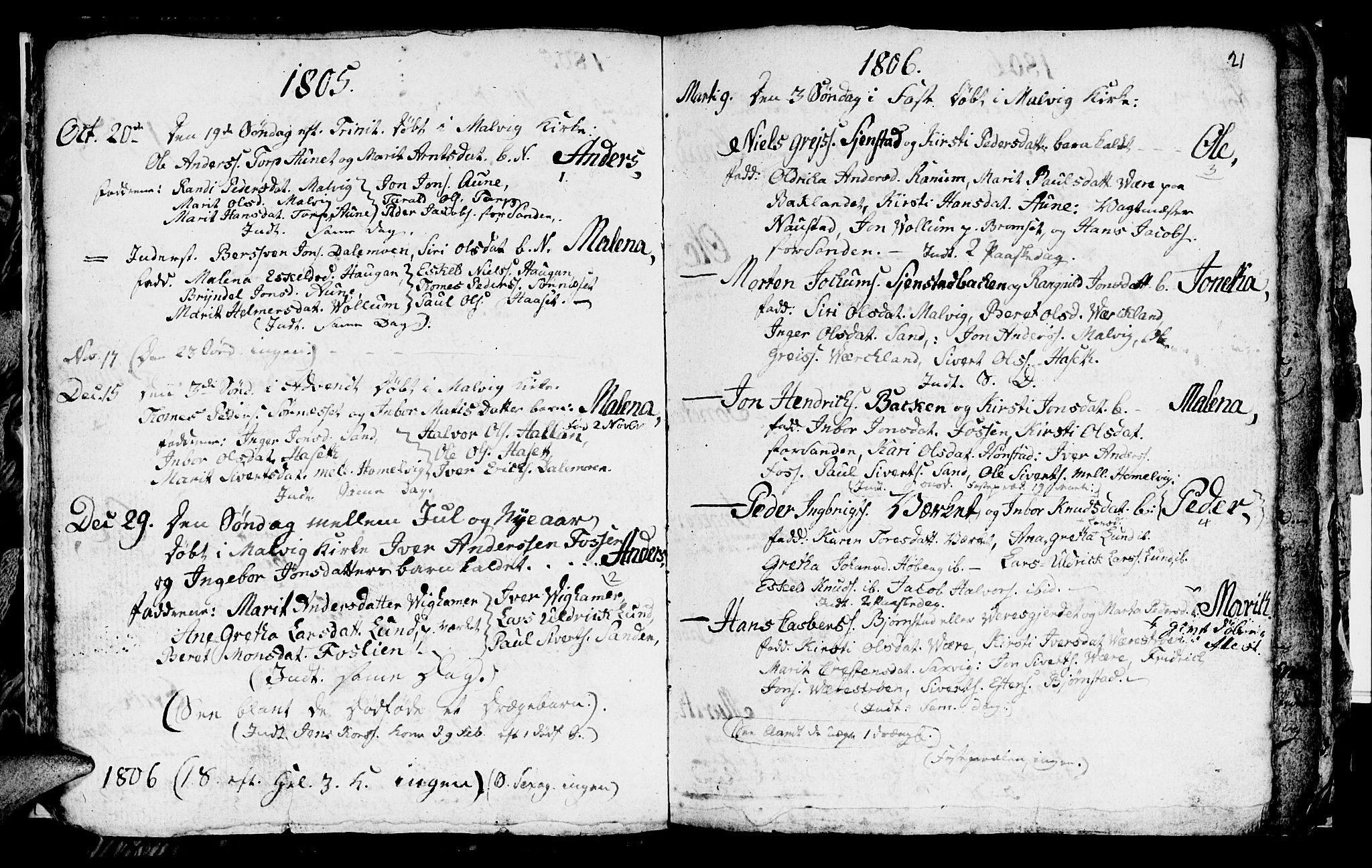 SAT, Ministerialprotokoller, klokkerbøker og fødselsregistre - Sør-Trøndelag, 616/L0419: Klokkerbok nr. 616C02, 1797-1816, s. 21