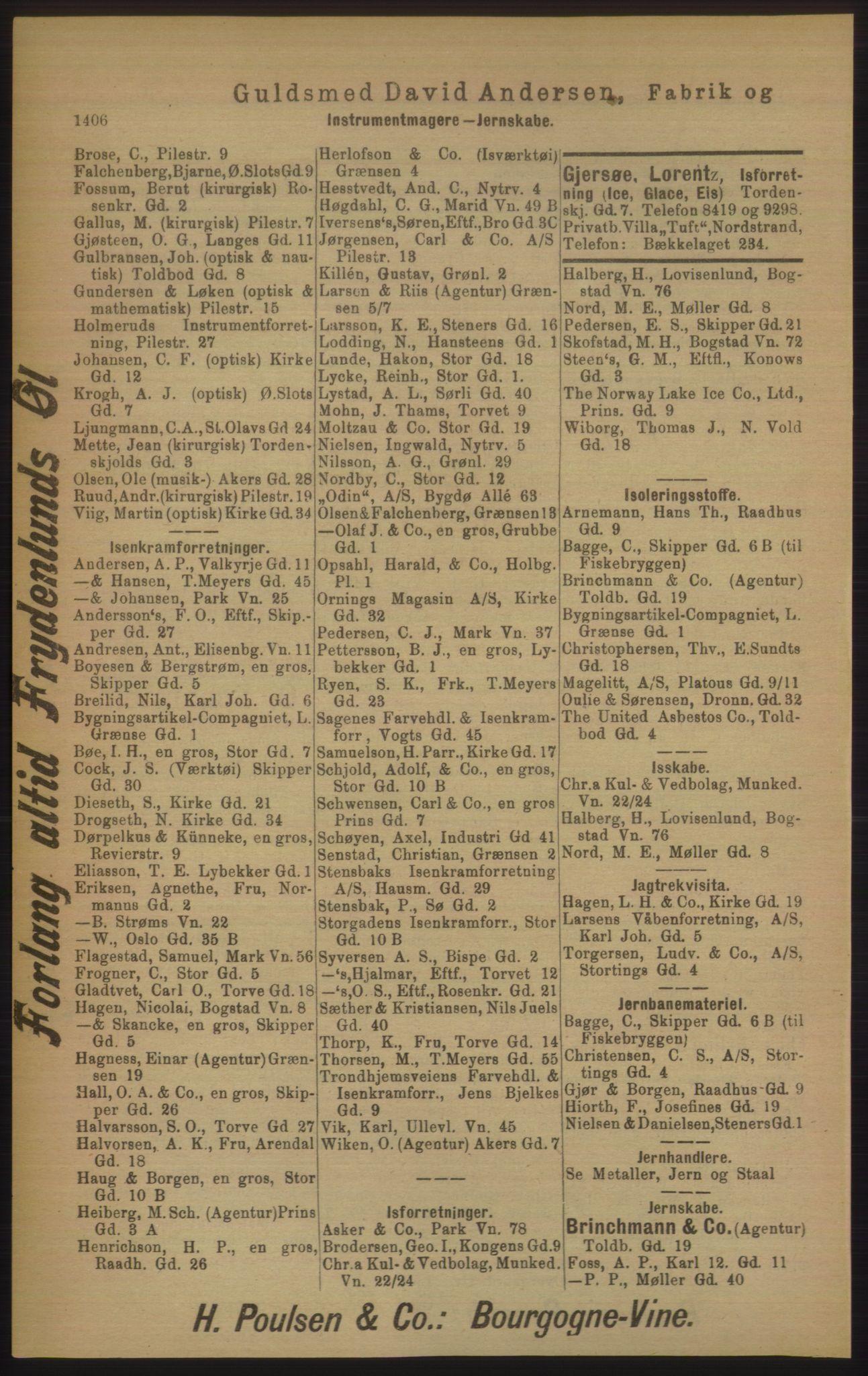 RA, Kristiania adressebok (publikasjon)*, 1906, s. 1406