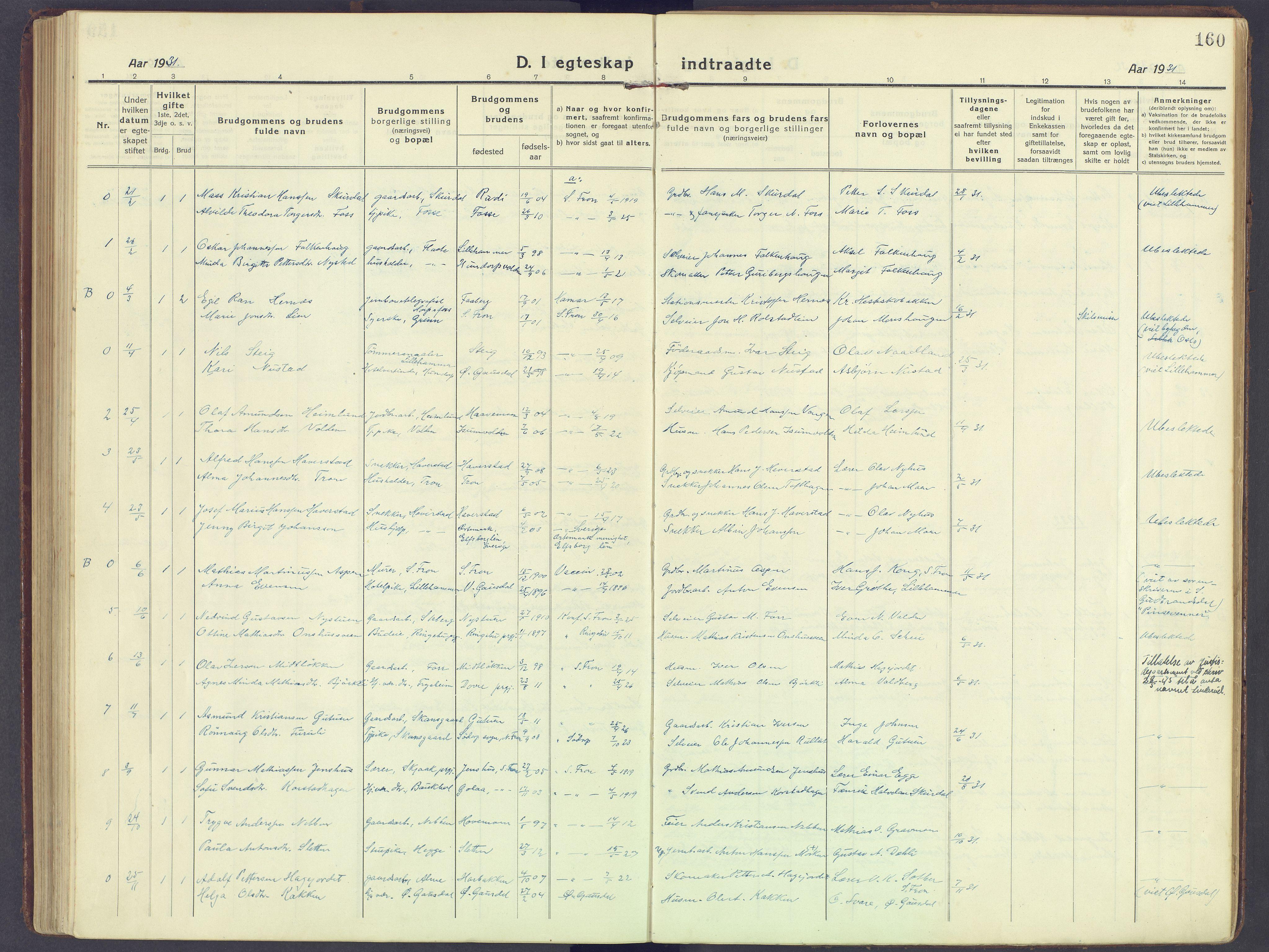 SAH, Sør-Fron prestekontor, H/Ha/Haa/L0005: Ministerialbok nr. 5, 1920-1933, s. 160