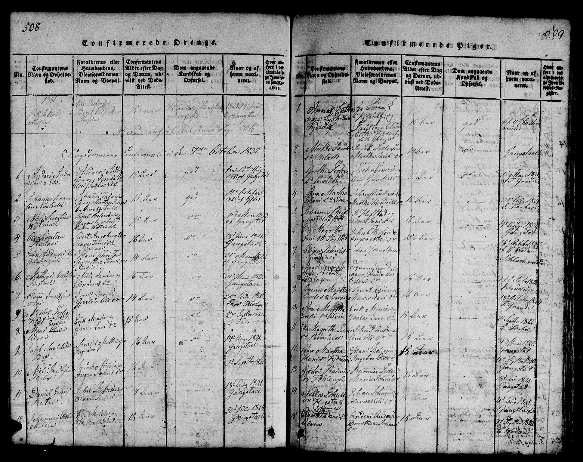 SAT, Ministerialprotokoller, klokkerbøker og fødselsregistre - Nord-Trøndelag, 730/L0298: Klokkerbok nr. 730C01, 1816-1849, s. 508-509