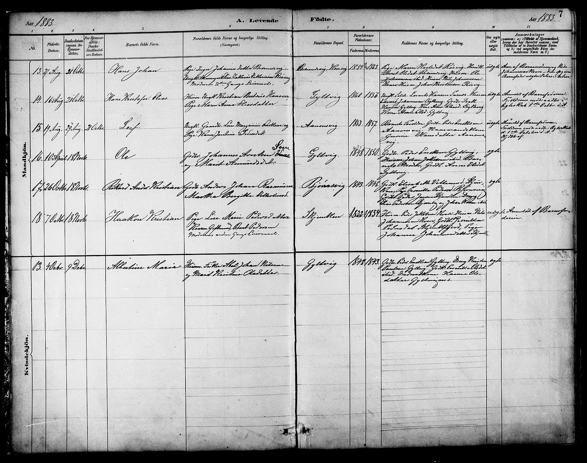SAT, Ministerialprotokoller, klokkerbøker og fødselsregistre - Nordland, 854/L0777: Ministerialbok nr. 854A01 /1, 1883-1891, s. 7