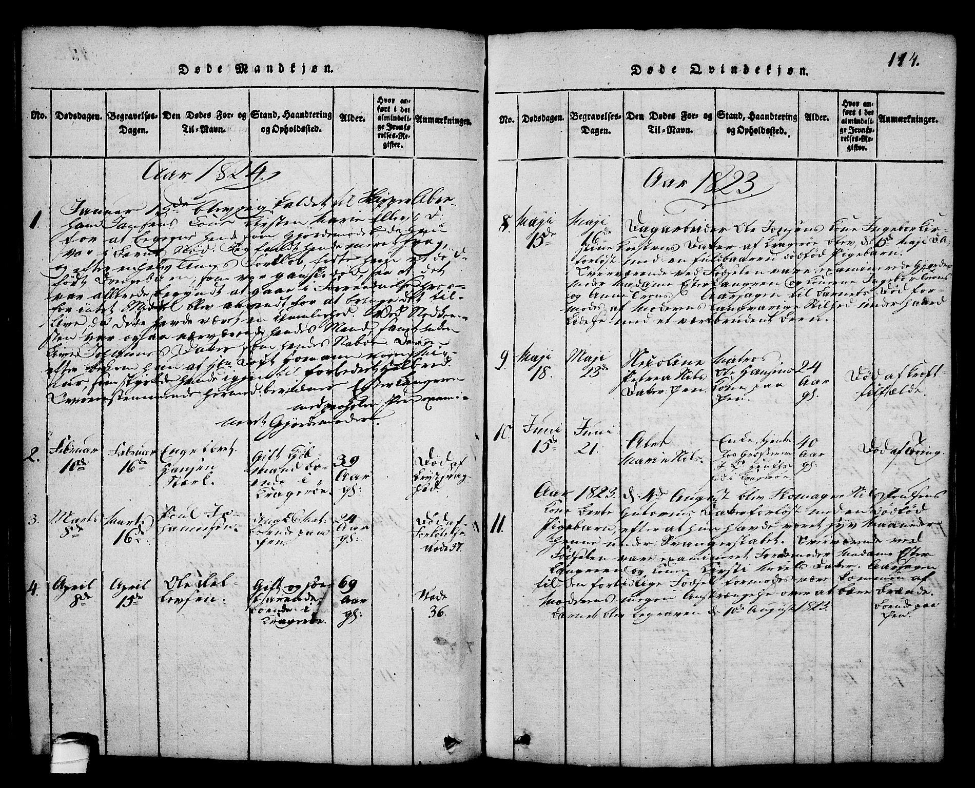 SAKO, Kragerø kirkebøker, G/Ga/L0002: Klokkerbok nr. 2, 1814-1831, s. 114