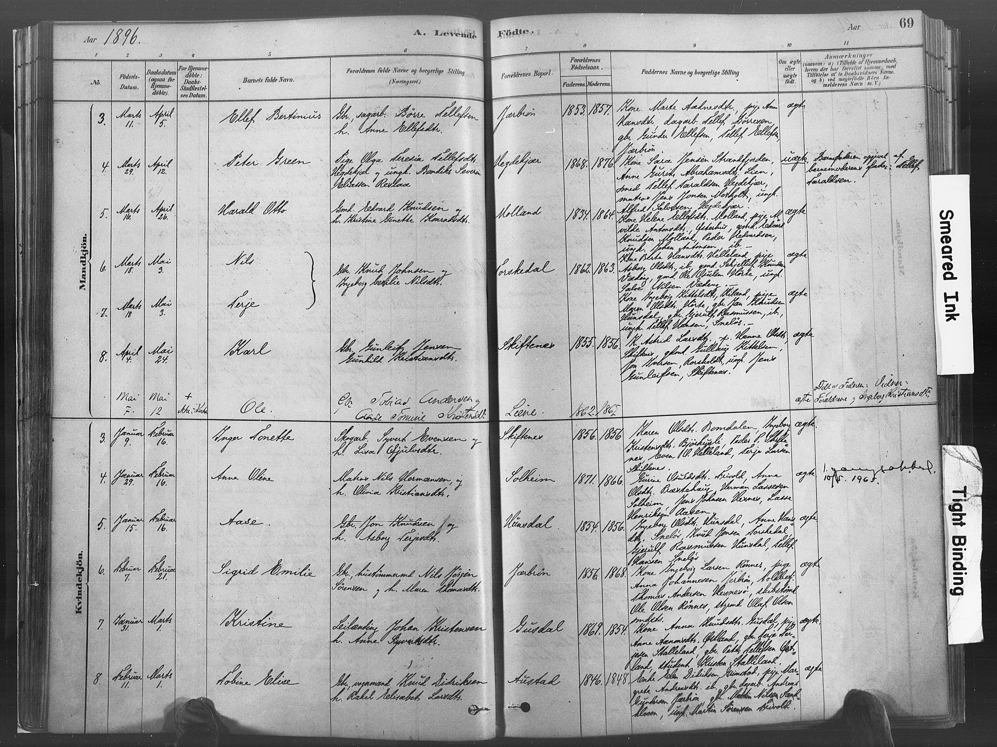 SAK, Hommedal sokneprestkontor, F/Fa/Fab/L0006: Ministerialbok nr. A 6, 1878-1897, s. 69