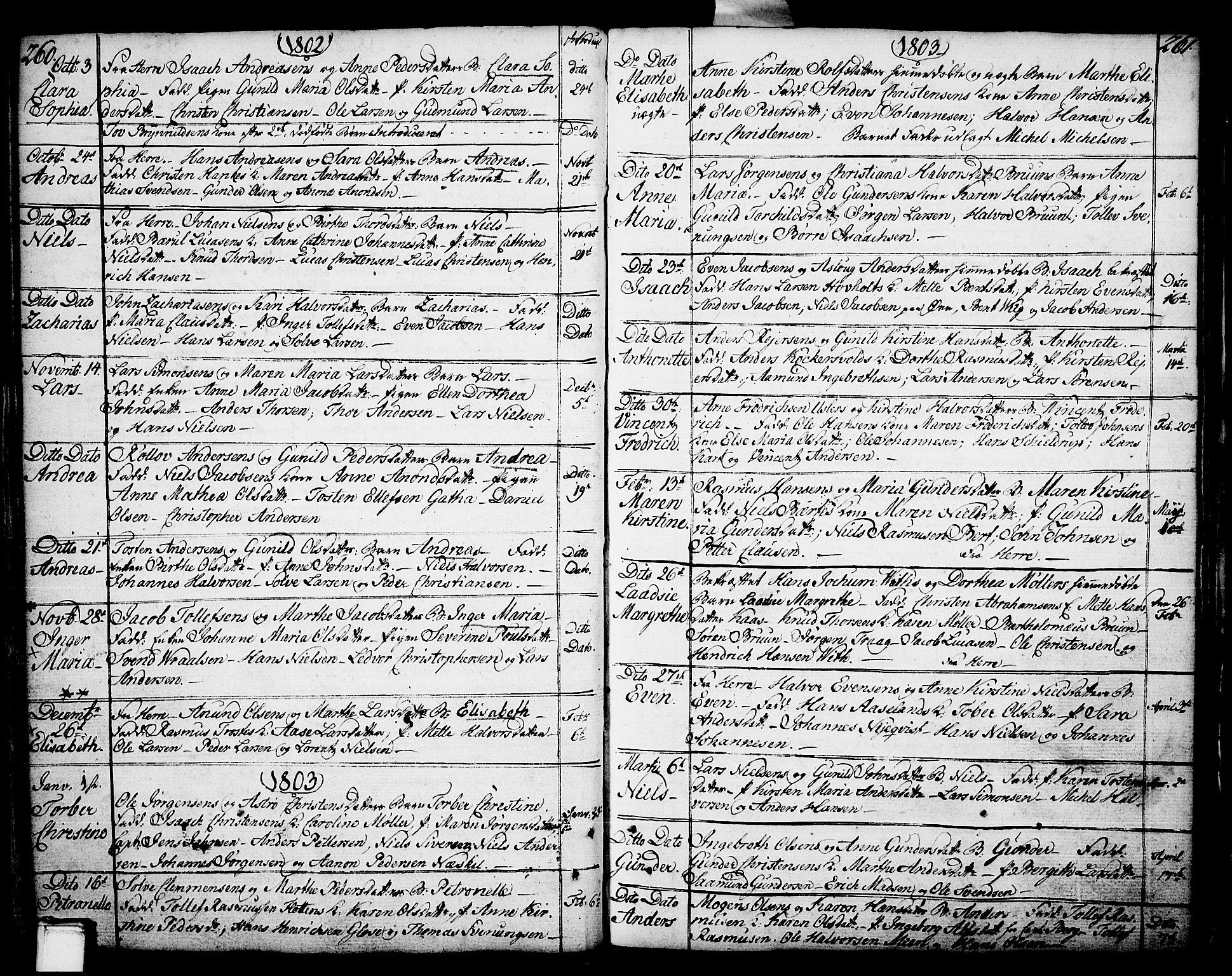 SAKO, Porsgrunn kirkebøker , F/Fa/L0002: Ministerialbok nr. 2, 1764-1814, s. 260-261
