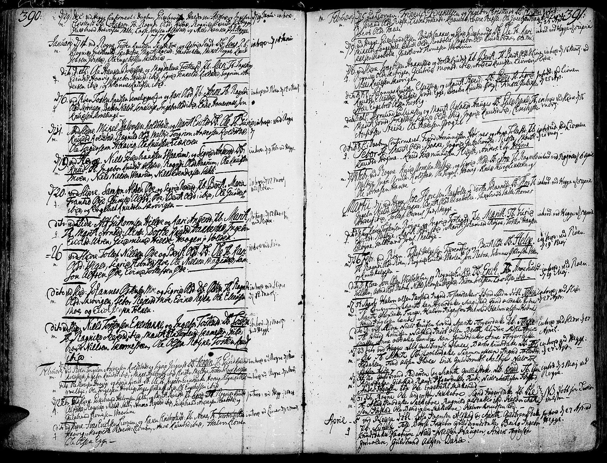 SAH, Slidre prestekontor, Ministerialbok nr. 1, 1724-1814, s. 390-391