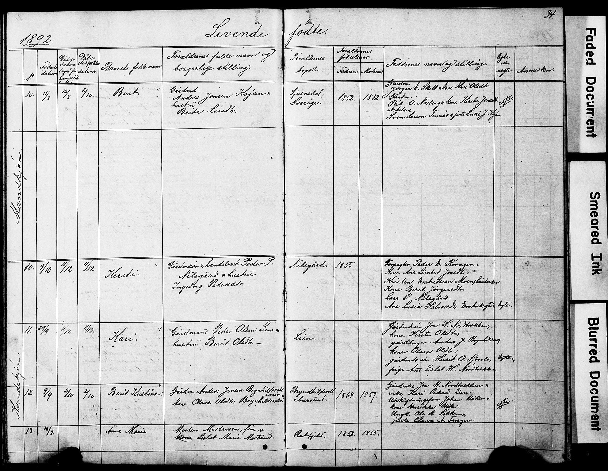 SAT, Ministerialprotokoller, klokkerbøker og fødselsregistre - Sør-Trøndelag, 683/L0949: Klokkerbok nr. 683C01, 1880-1896, s. 34