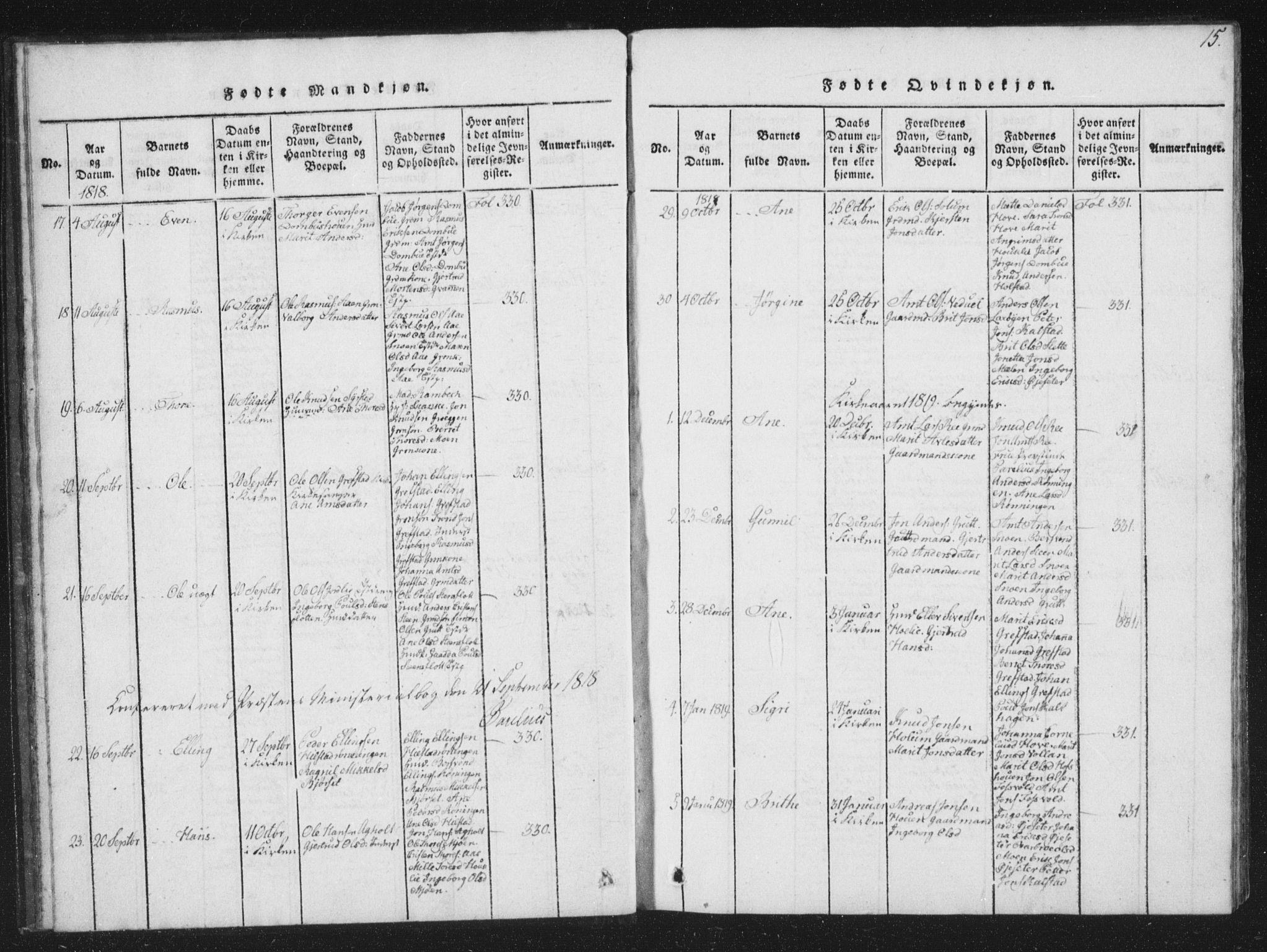 SAT, Ministerialprotokoller, klokkerbøker og fødselsregistre - Sør-Trøndelag, 672/L0862: Klokkerbok nr. 672C01, 1816-1831, s. 15
