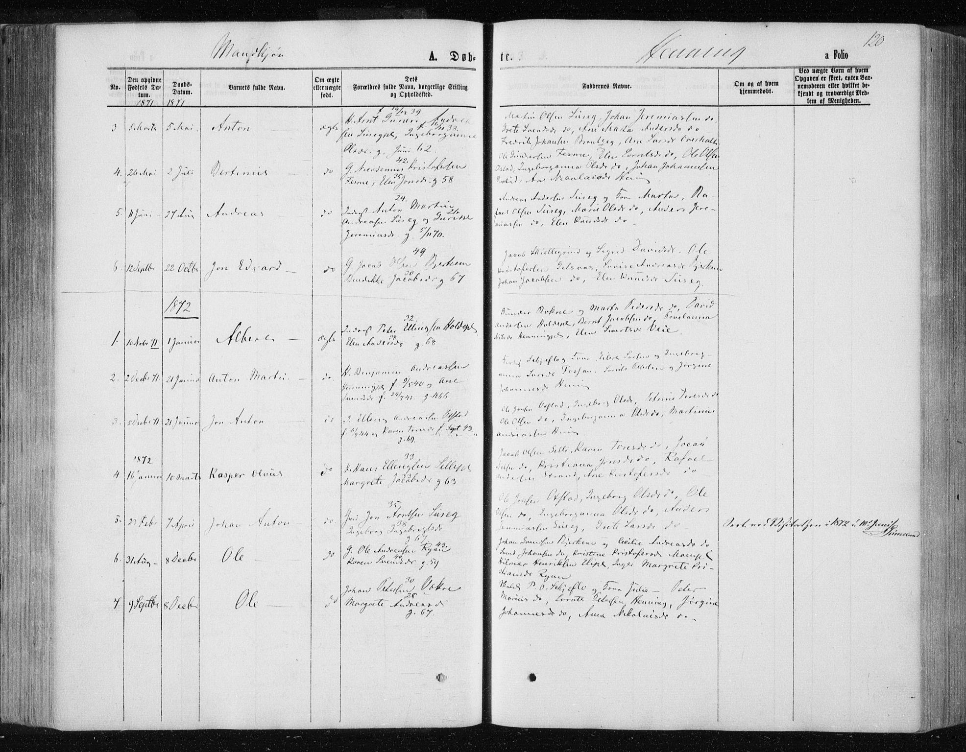 SAT, Ministerialprotokoller, klokkerbøker og fødselsregistre - Nord-Trøndelag, 735/L0345: Ministerialbok nr. 735A08 /3, 1863-1872, s. 120