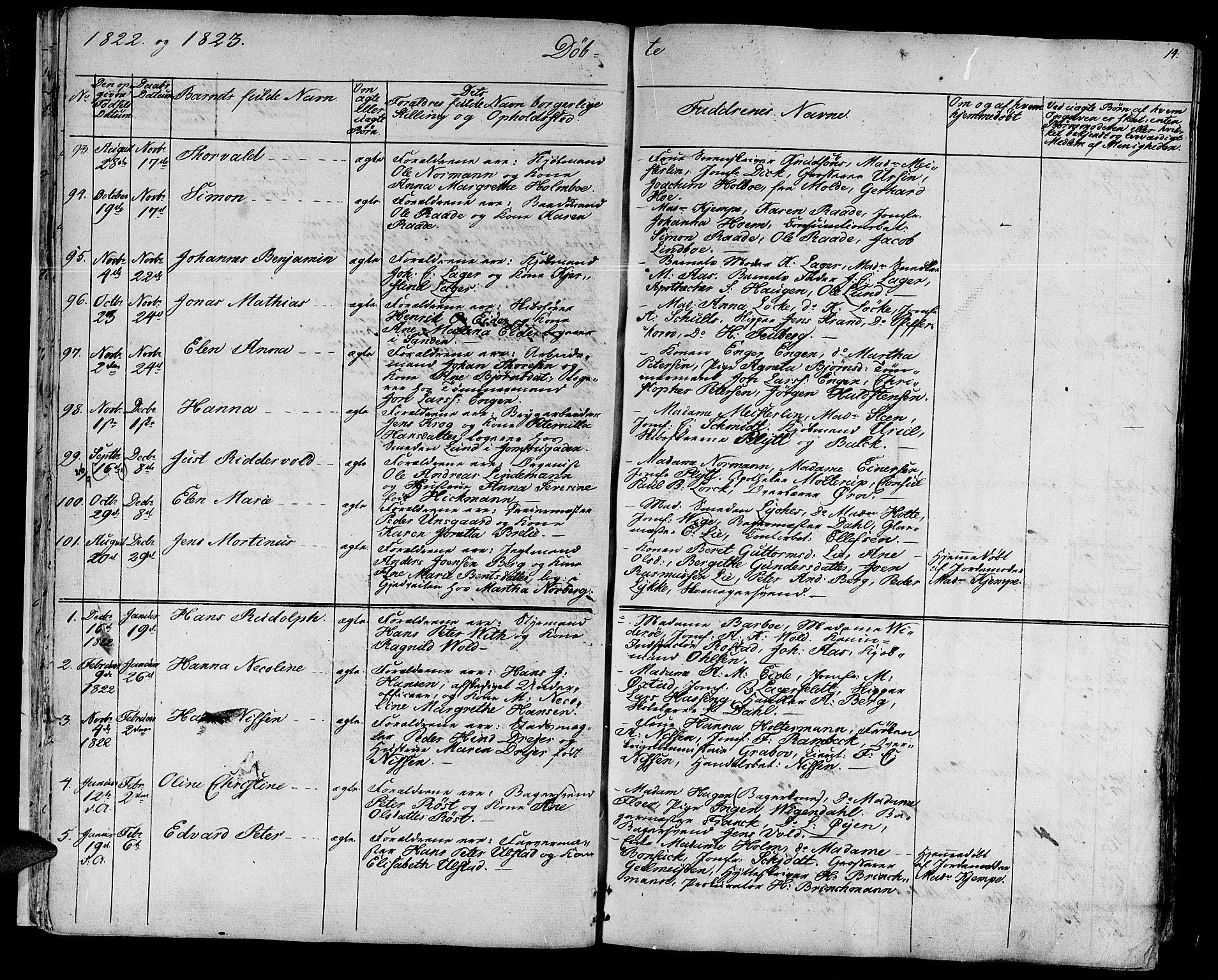 SAT, Ministerialprotokoller, klokkerbøker og fødselsregistre - Sør-Trøndelag, 602/L0108: Ministerialbok nr. 602A06, 1821-1839, s. 14