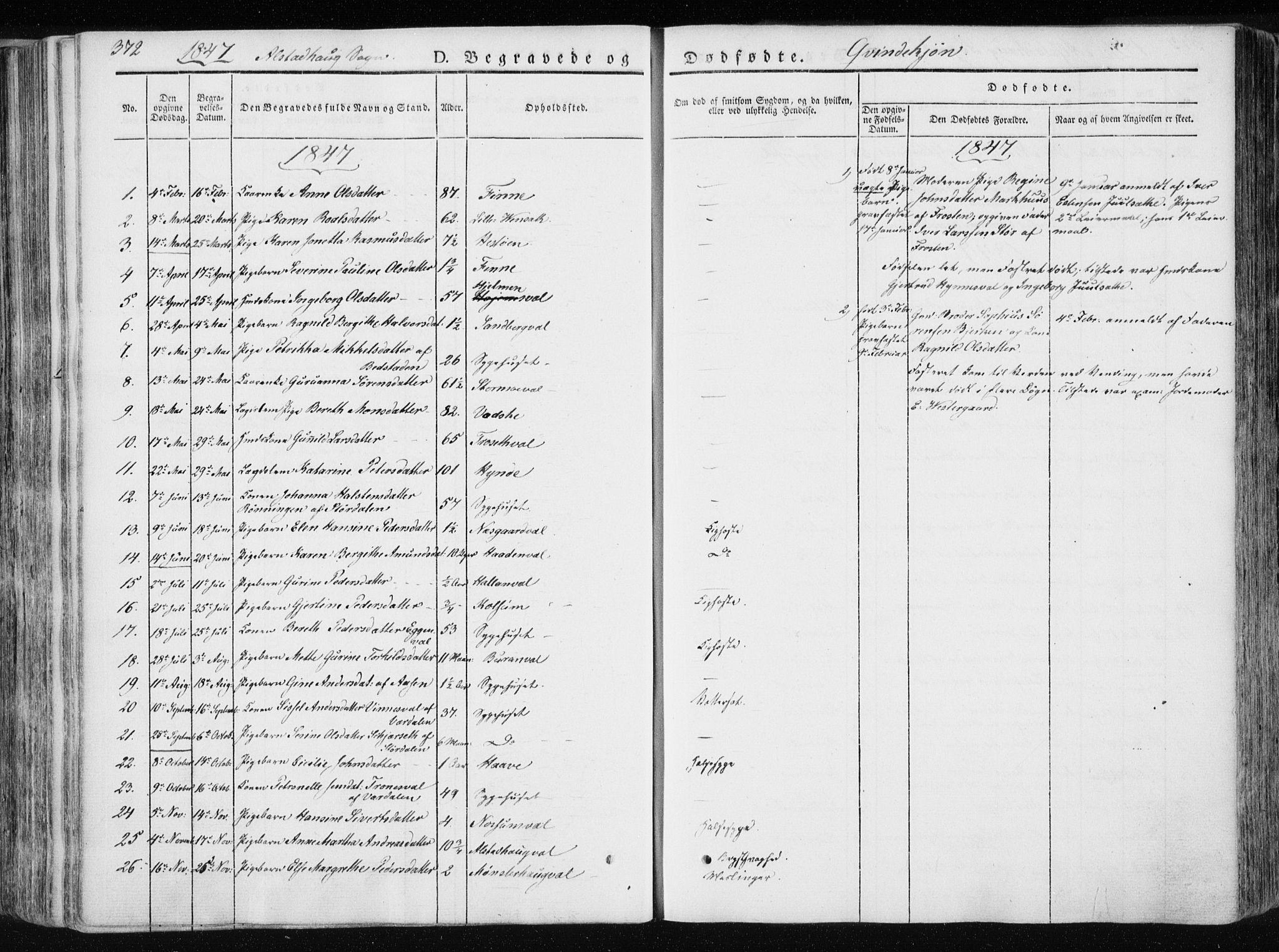 SAT, Ministerialprotokoller, klokkerbøker og fødselsregistre - Nord-Trøndelag, 717/L0154: Ministerialbok nr. 717A06 /1, 1836-1849, s. 372