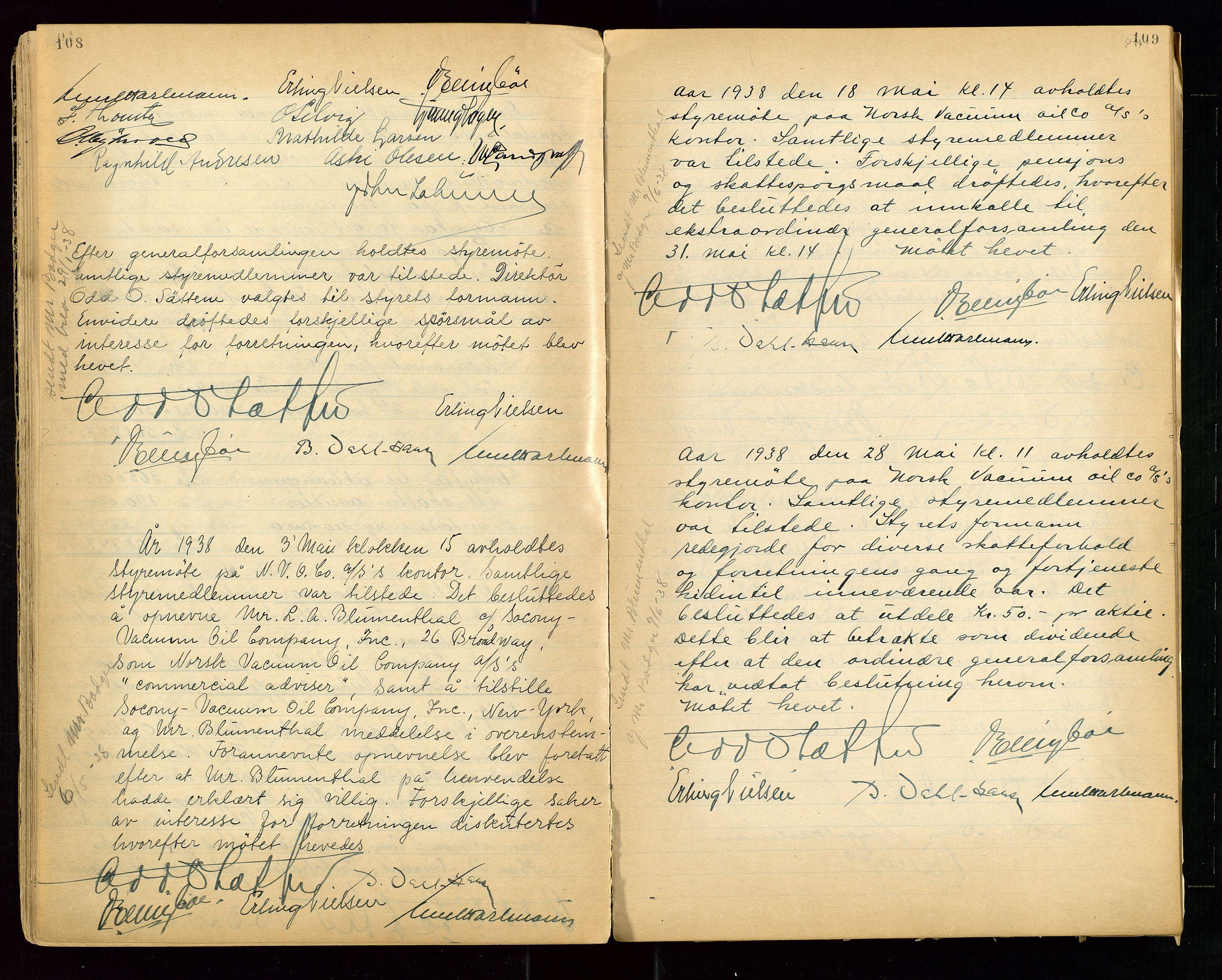 """SAST, PA 1513 - Norsk Vacuum Oil Company A/S, A/L0001: """"Generalforsamlings og styreprotokoll"""" fra 27/4-1918 til 6/4-1949, 1918-1949, s. 108-109"""