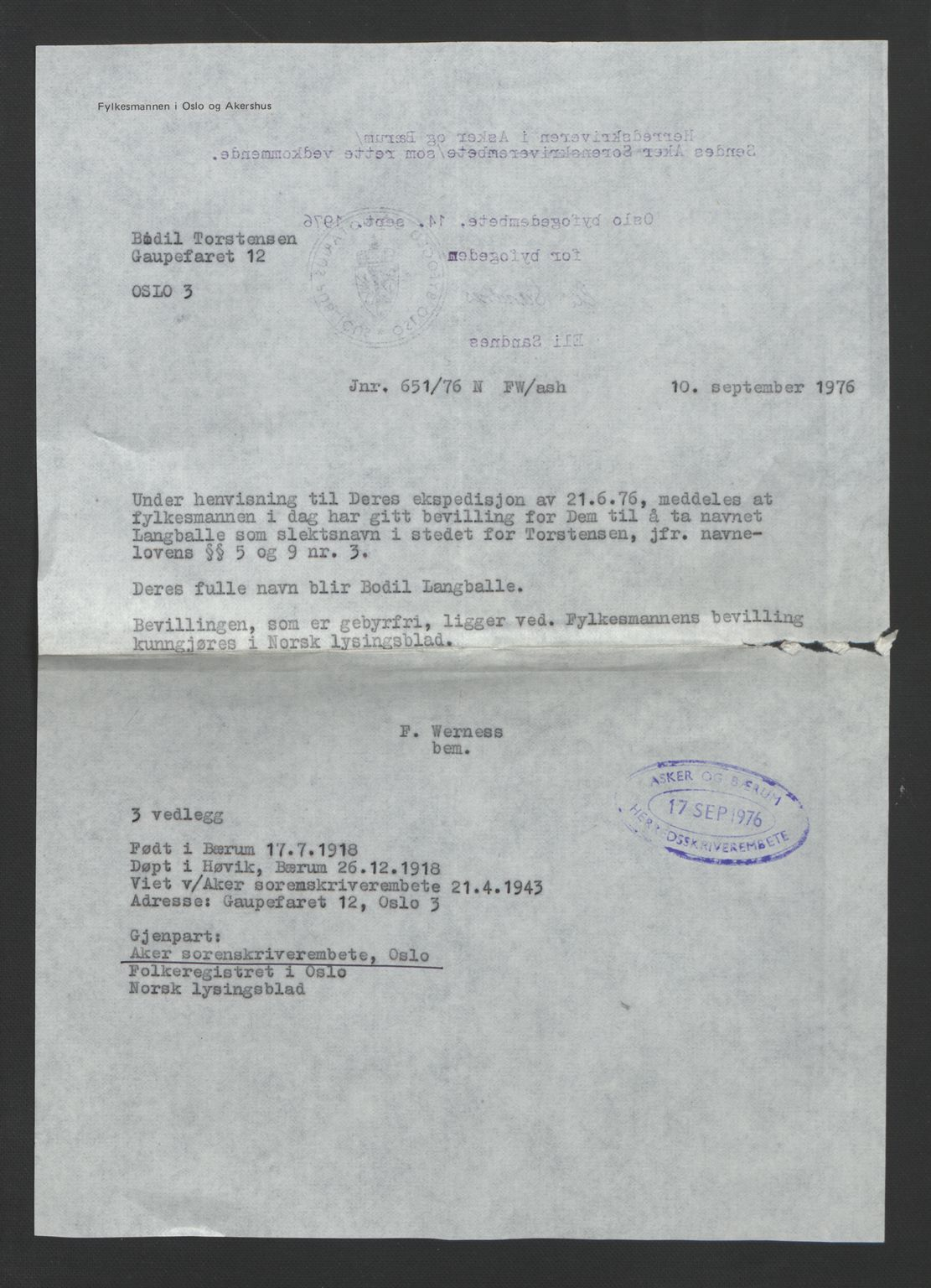 SAO, Aker sorenskriveri, L/Lc/Lcb/L0019: Vigselprotokoll, 1943, s. upaginert