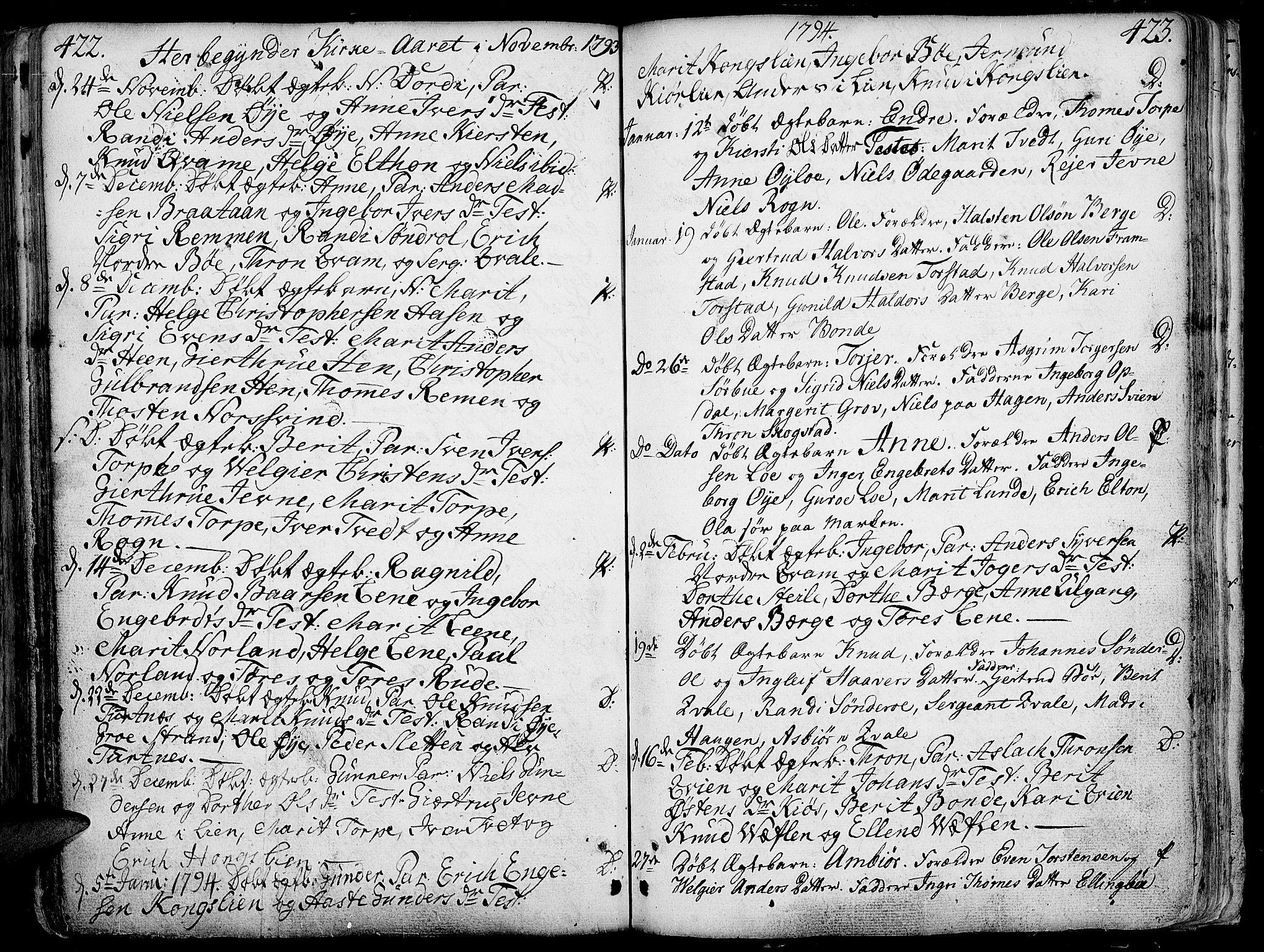 SAH, Vang prestekontor, Valdres, Ministerialbok nr. 1, 1730-1796, s. 422-423