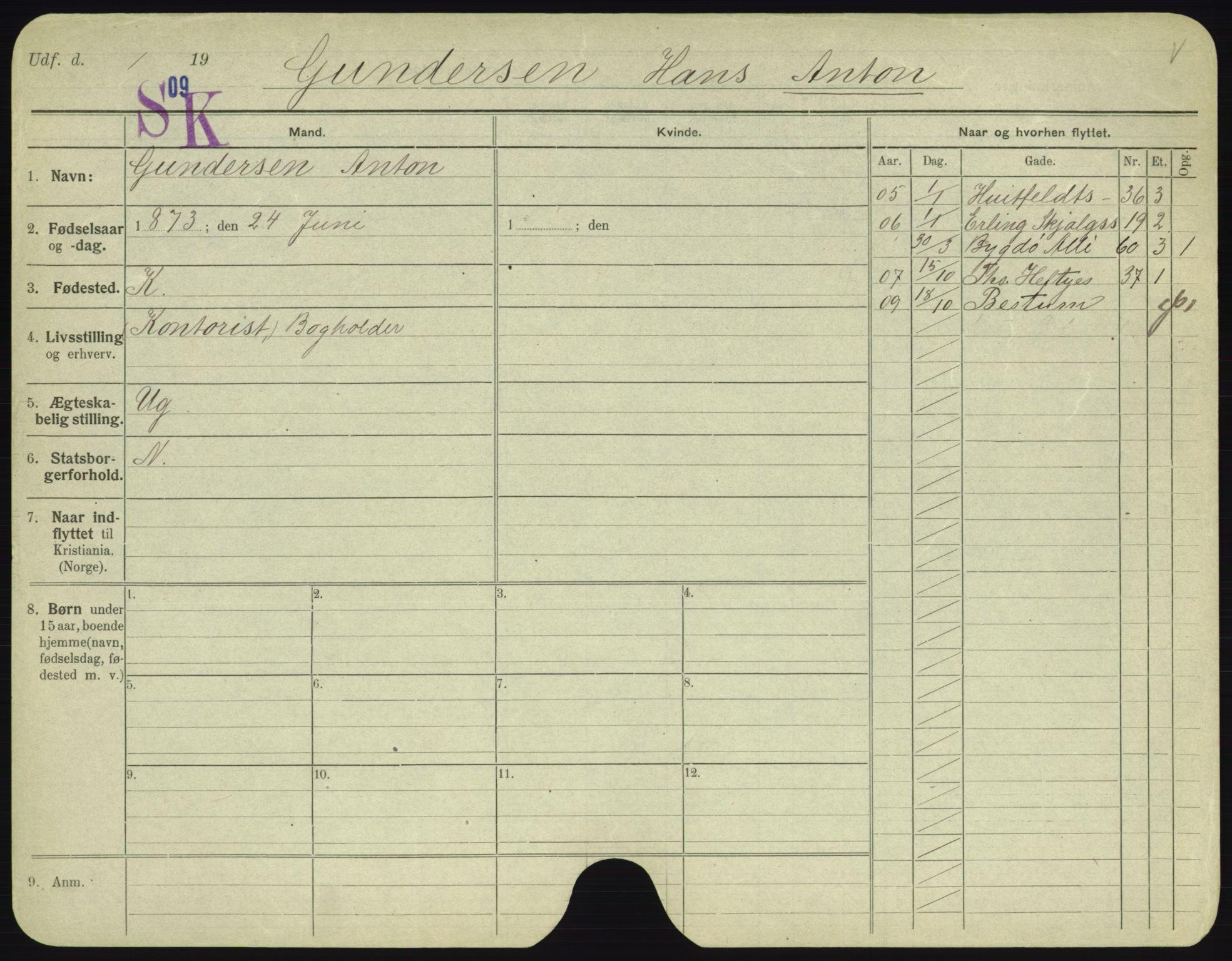 SAO, Oslo folkeregister, Registerkort, F/Fa/Fac/L0003: Menn, 1906-1914, s. 801a