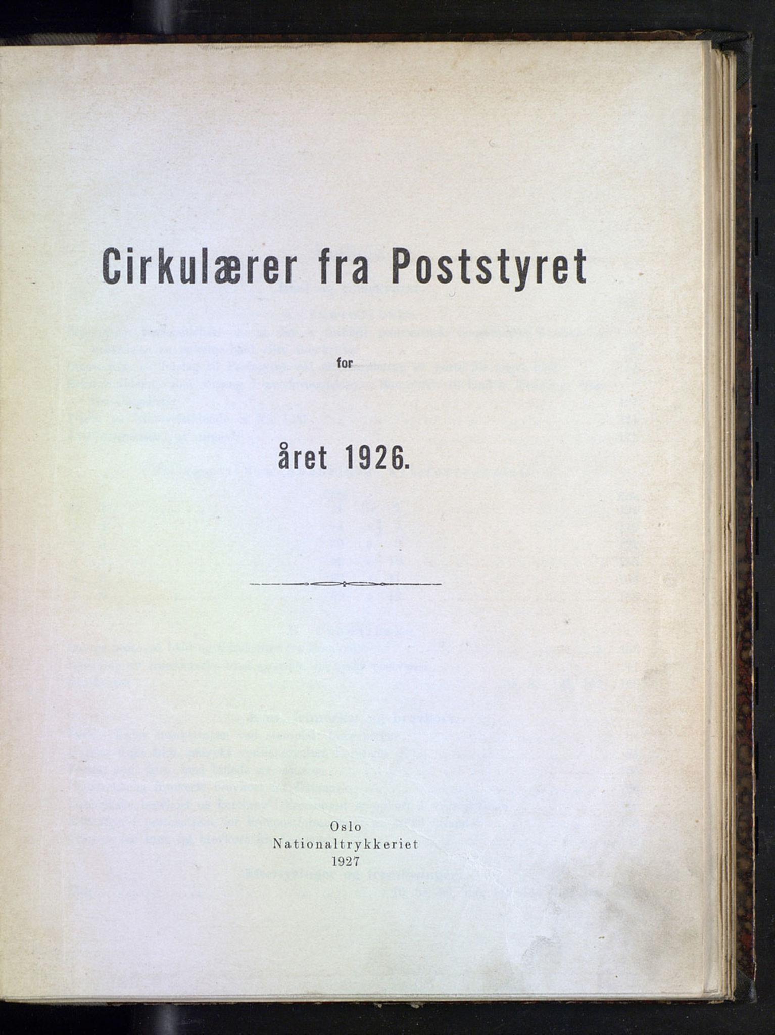 NOPO, Norges Postmuseums bibliotek, -/-: Sirkulærer fra Poststyret, 1926