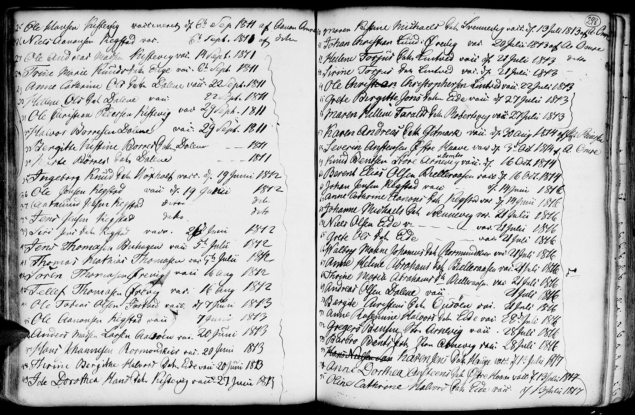 SAK, Hommedal sokneprestkontor, F/Fa/Fab/L0002: Ministerialbok nr. A 2 /2, 1740-1823, s. 298