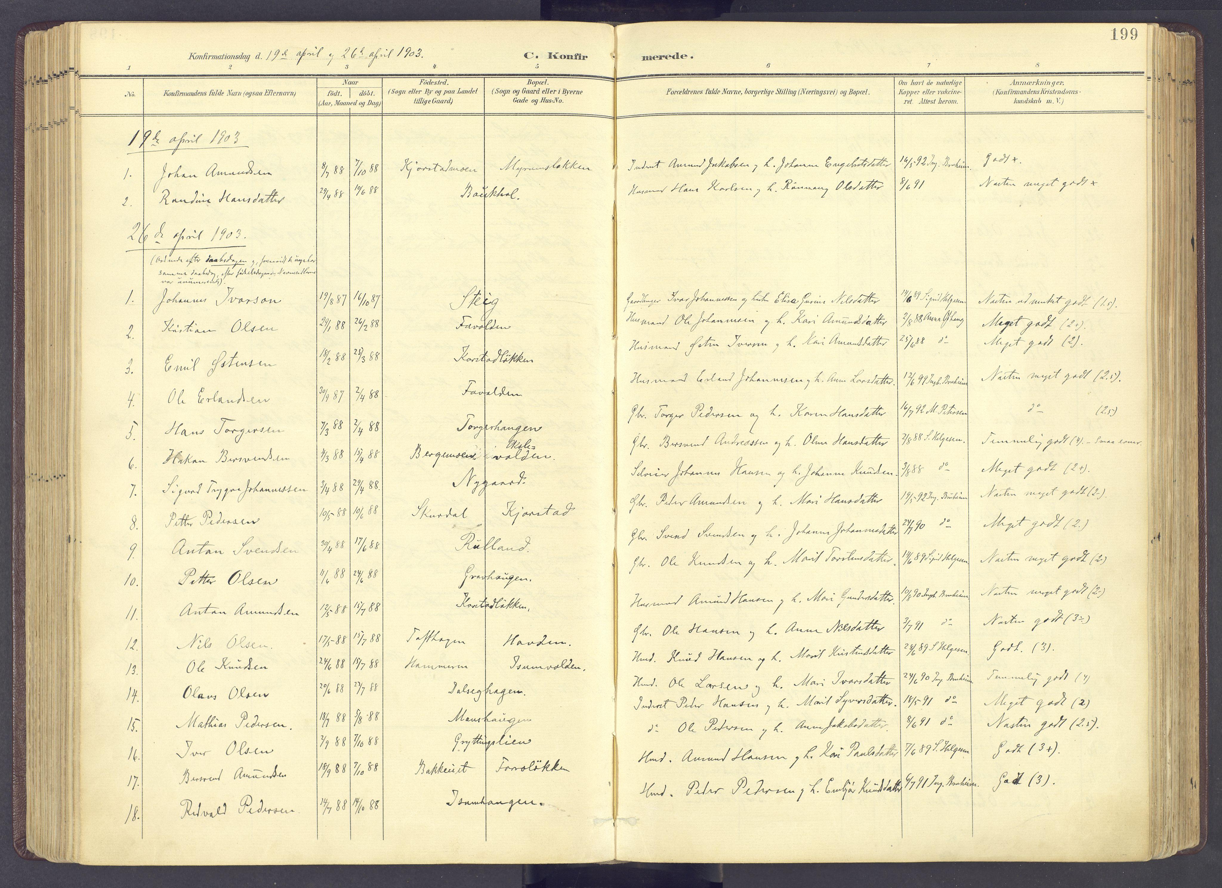 SAH, Sør-Fron prestekontor, H/Ha/Haa/L0004: Ministerialbok nr. 4, 1898-1919, s. 199