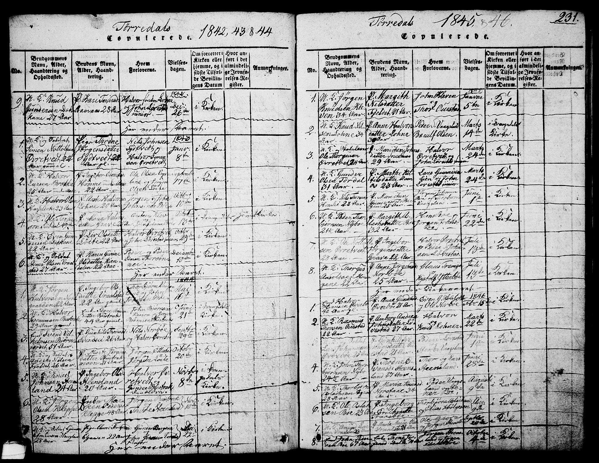 SAKO, Drangedal kirkebøker, G/Ga/L0001: Klokkerbok nr. I 1 /2, 1814-1856, s. 231