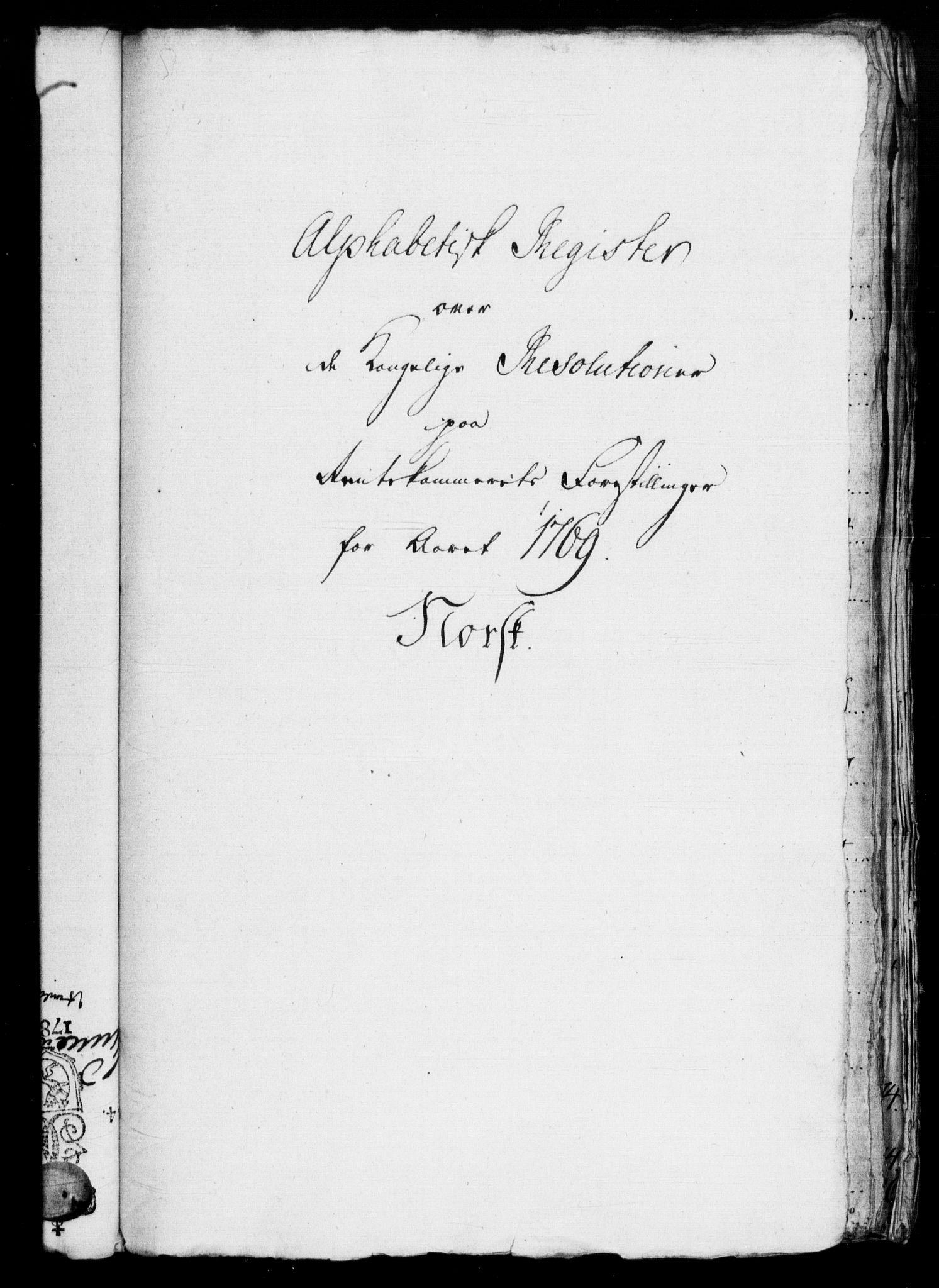 RA, Rentekammeret, Kammerkanselliet, G/Gf/Gfb/L0007: Register til norske relasjons- og resolusjonsprotokoller (merket RK 52.102), 1765-1771, s. 306
