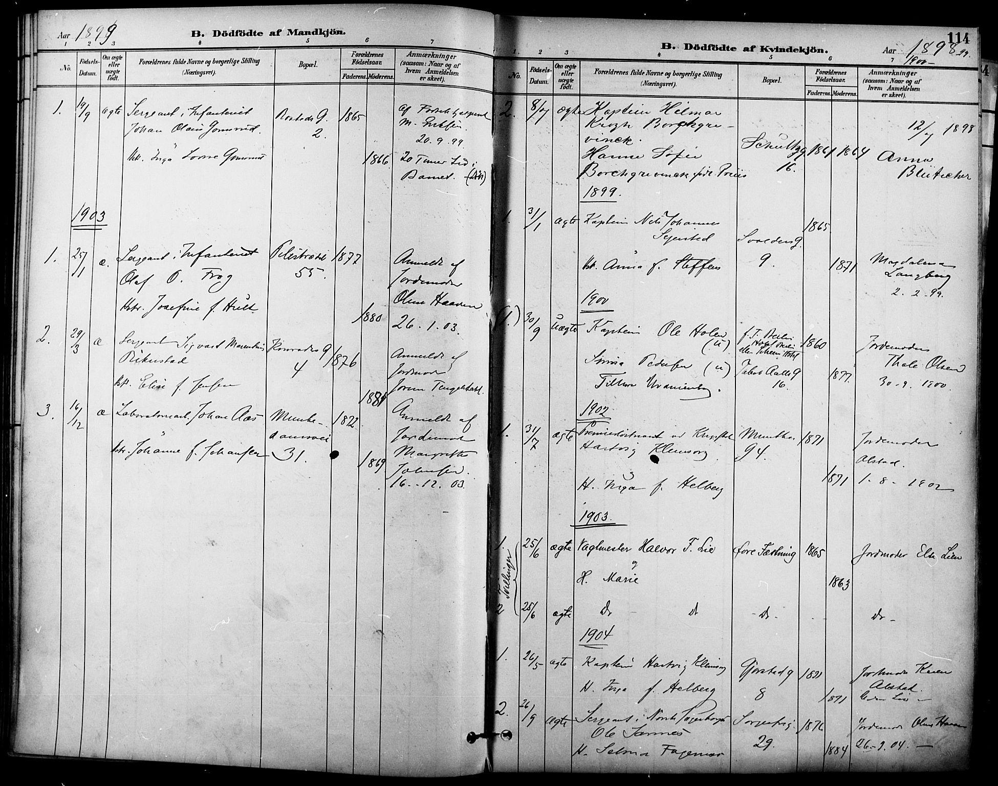 SAO, Garnisonsmenigheten Kirkebøker, F/Fa/L0013: Ministerialbok nr. 13, 1894-1904, s. 114